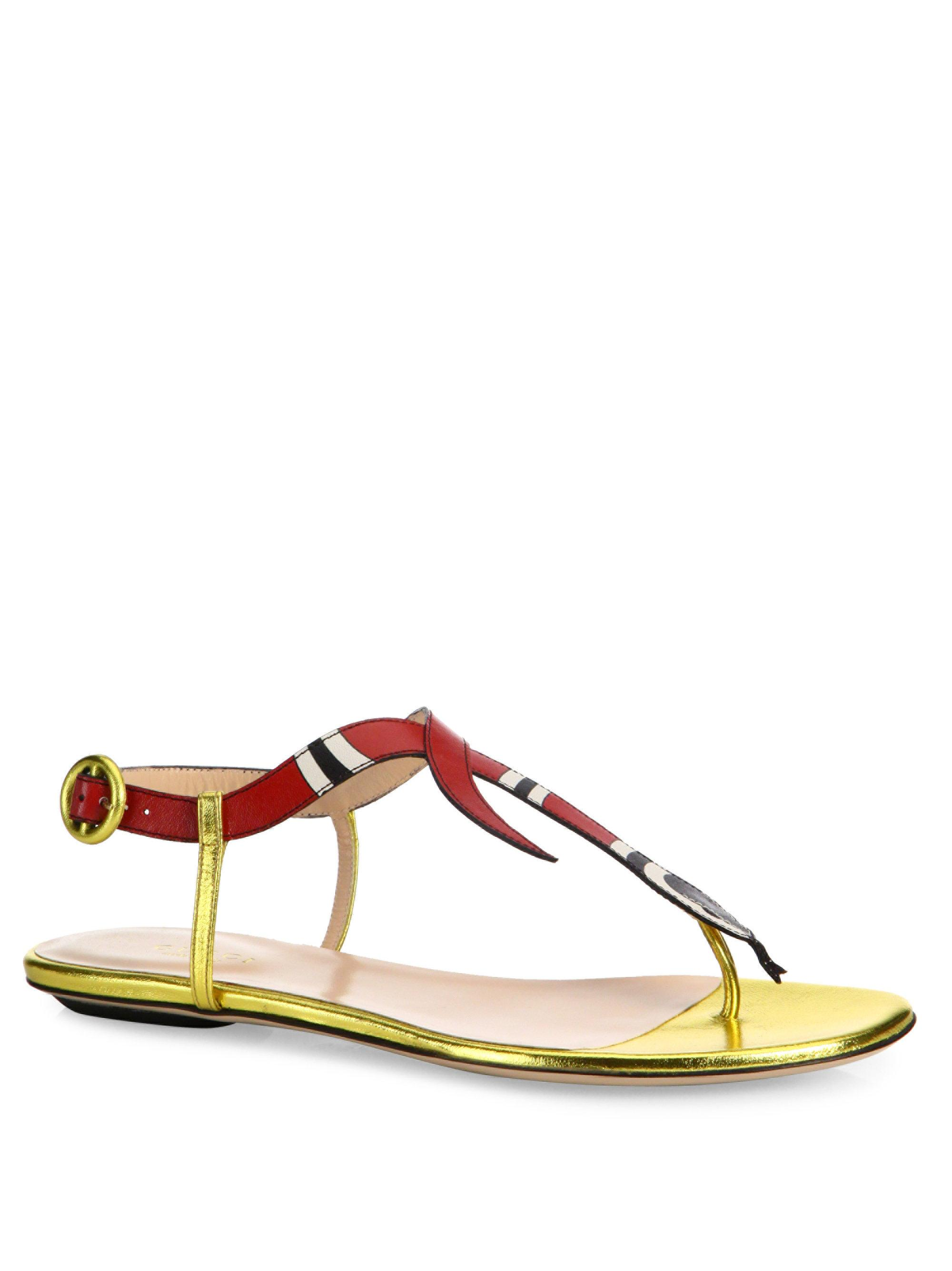 Lyst Gucci Yoko Snake Leather Sandals