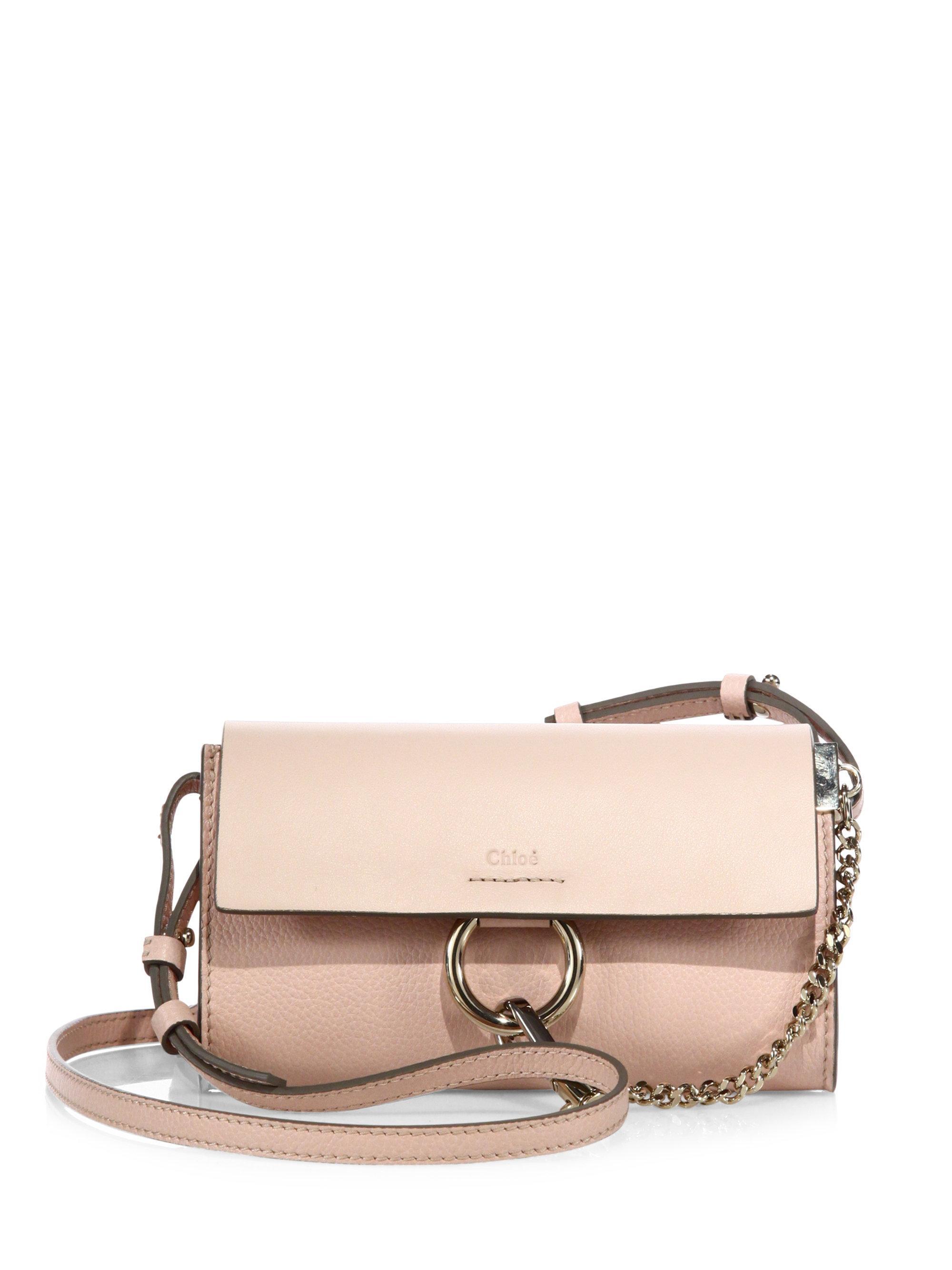chlo mini faye leather shoulder bag in pink lyst. Black Bedroom Furniture Sets. Home Design Ideas
