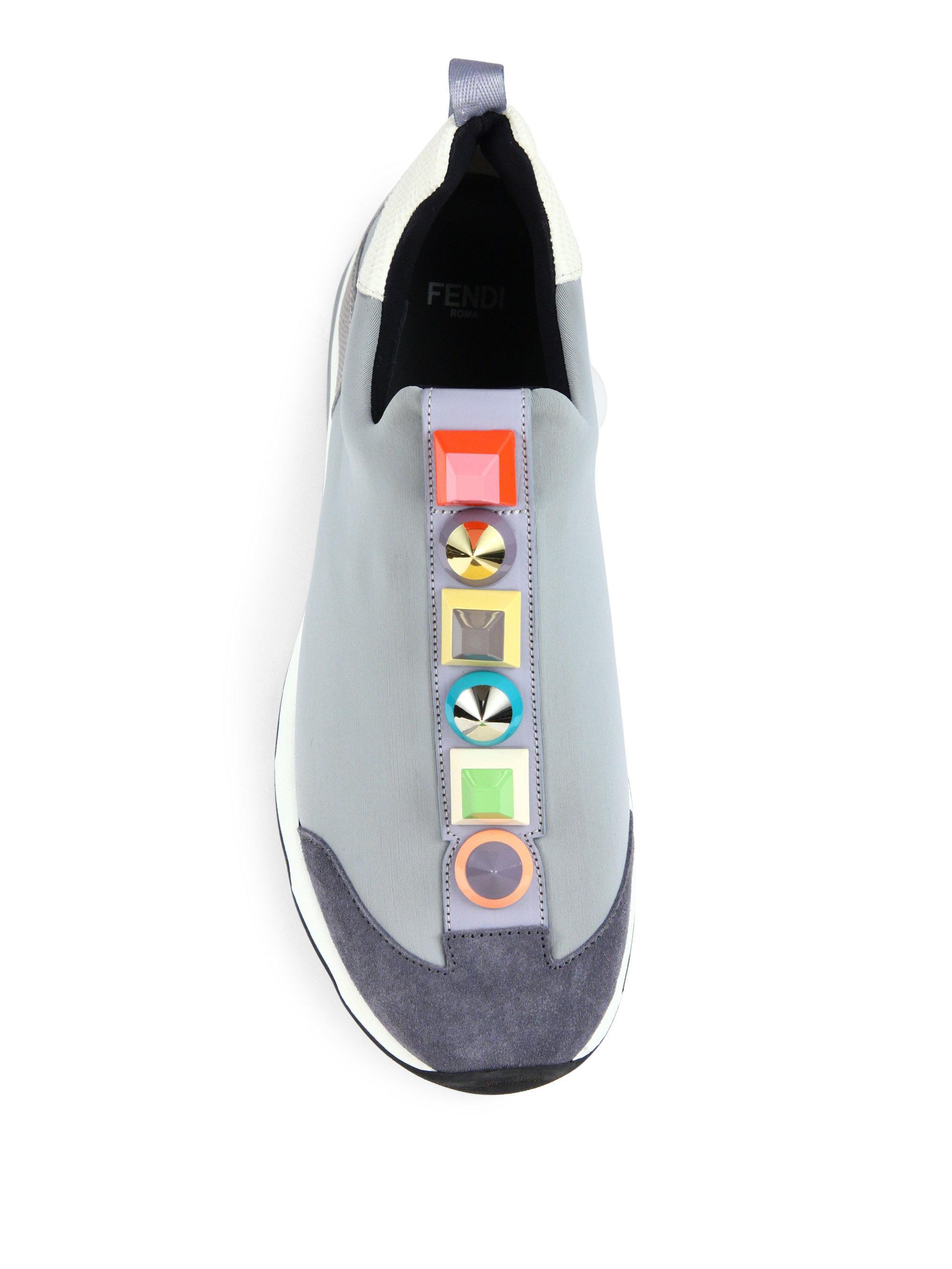 Lyst Fendi Rainbow Studded Sneakers In Gray