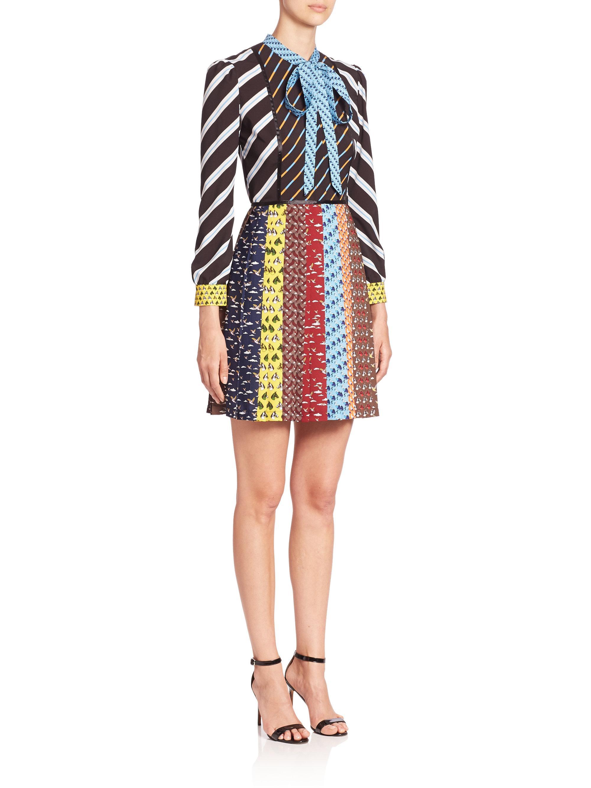 5985f52eb4 Lyst - Mary Katrantzou Knight Long-sleeve Tie-neck Pleated Dress