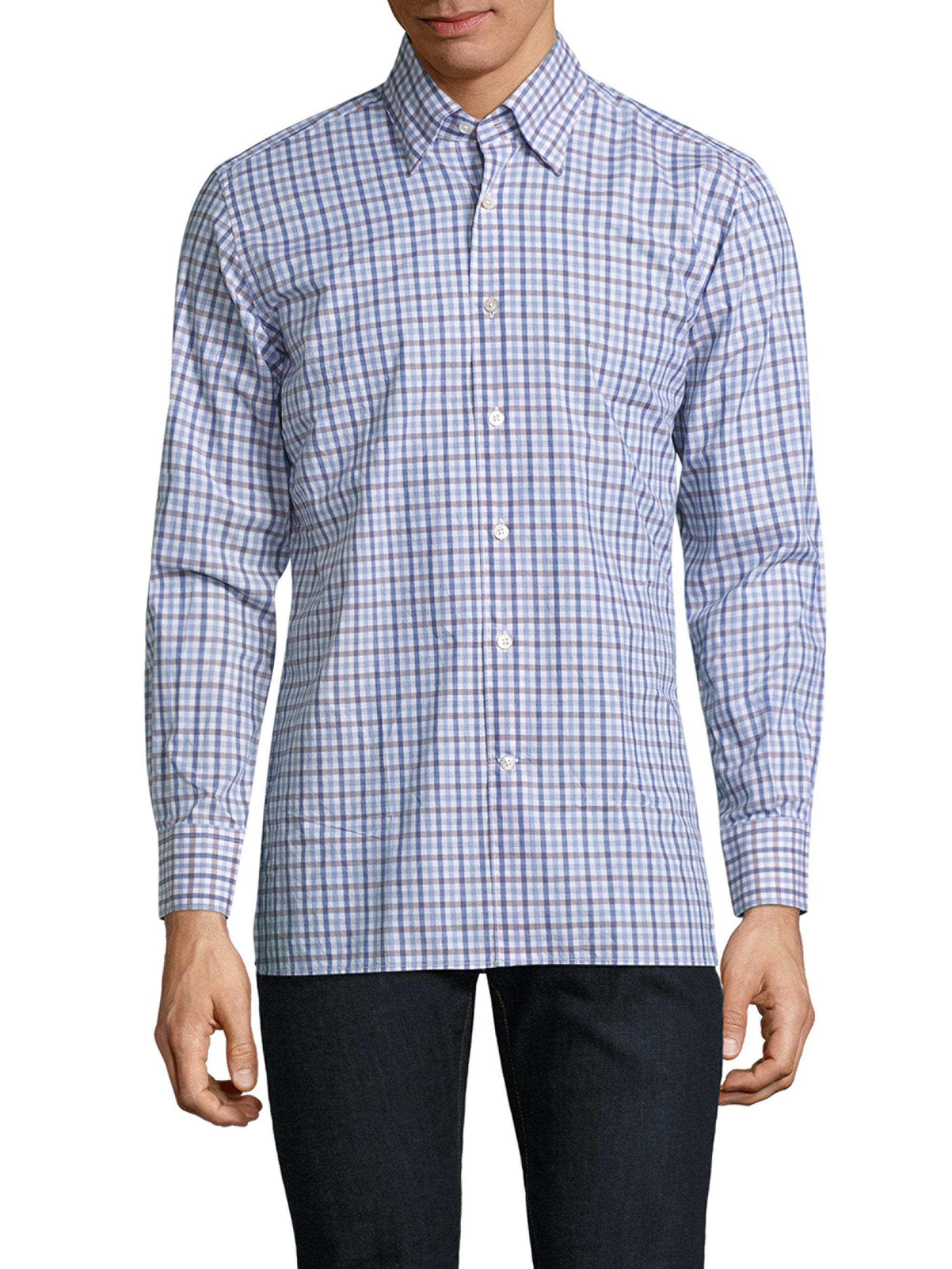 Canali Gingham Casual Button Down Shirt In Blue For Men Lyst