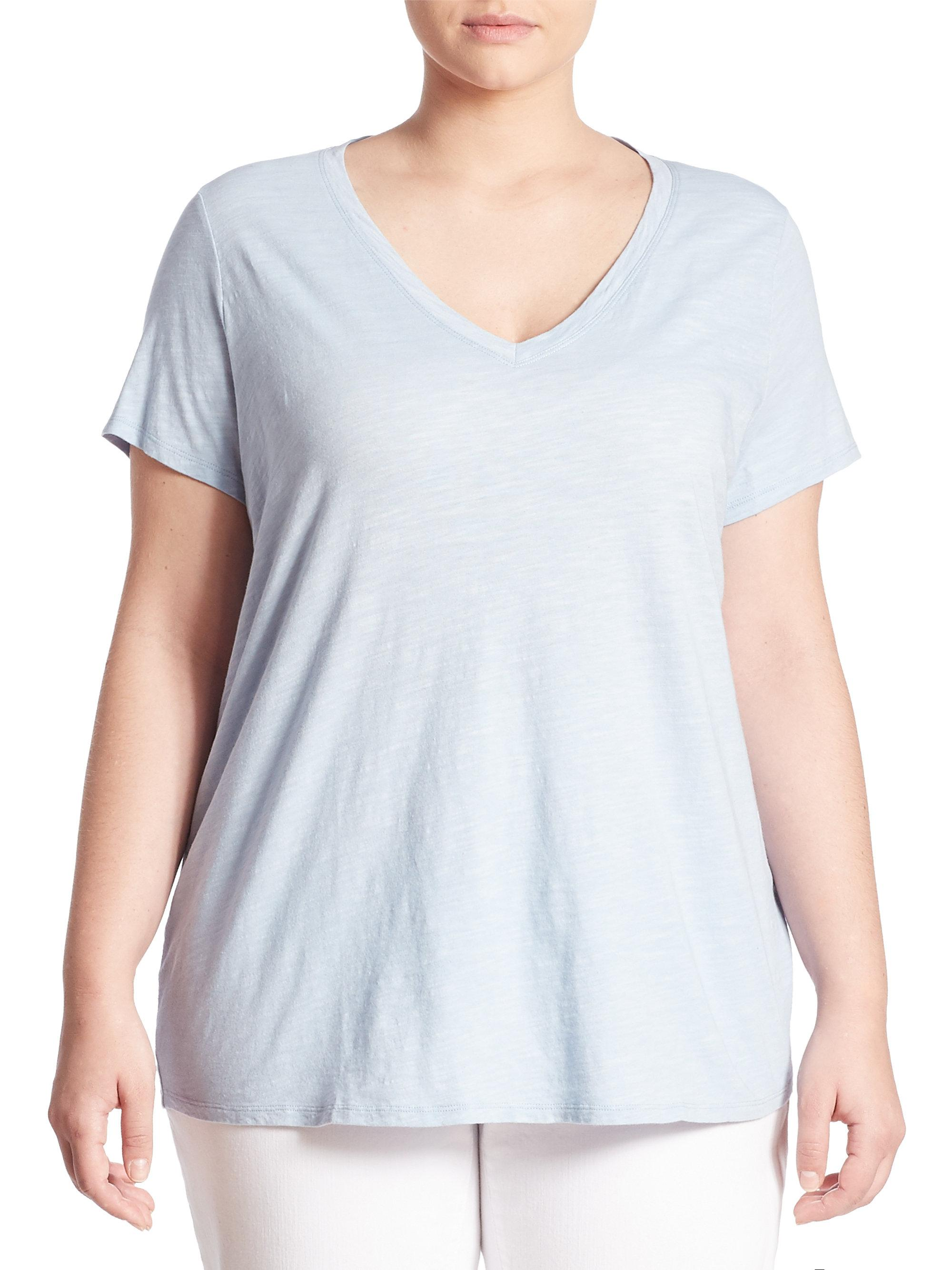 Eileen fisher organic cotton v neck tee in blue lyst for Eileen fisher organic cotton t shirt