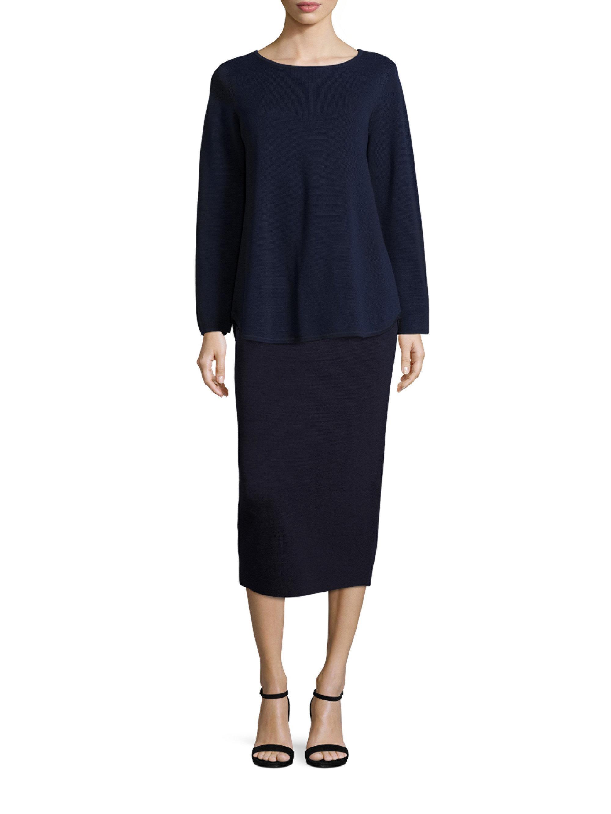 eileen fisher silk organic cotton interlock pencil skirt