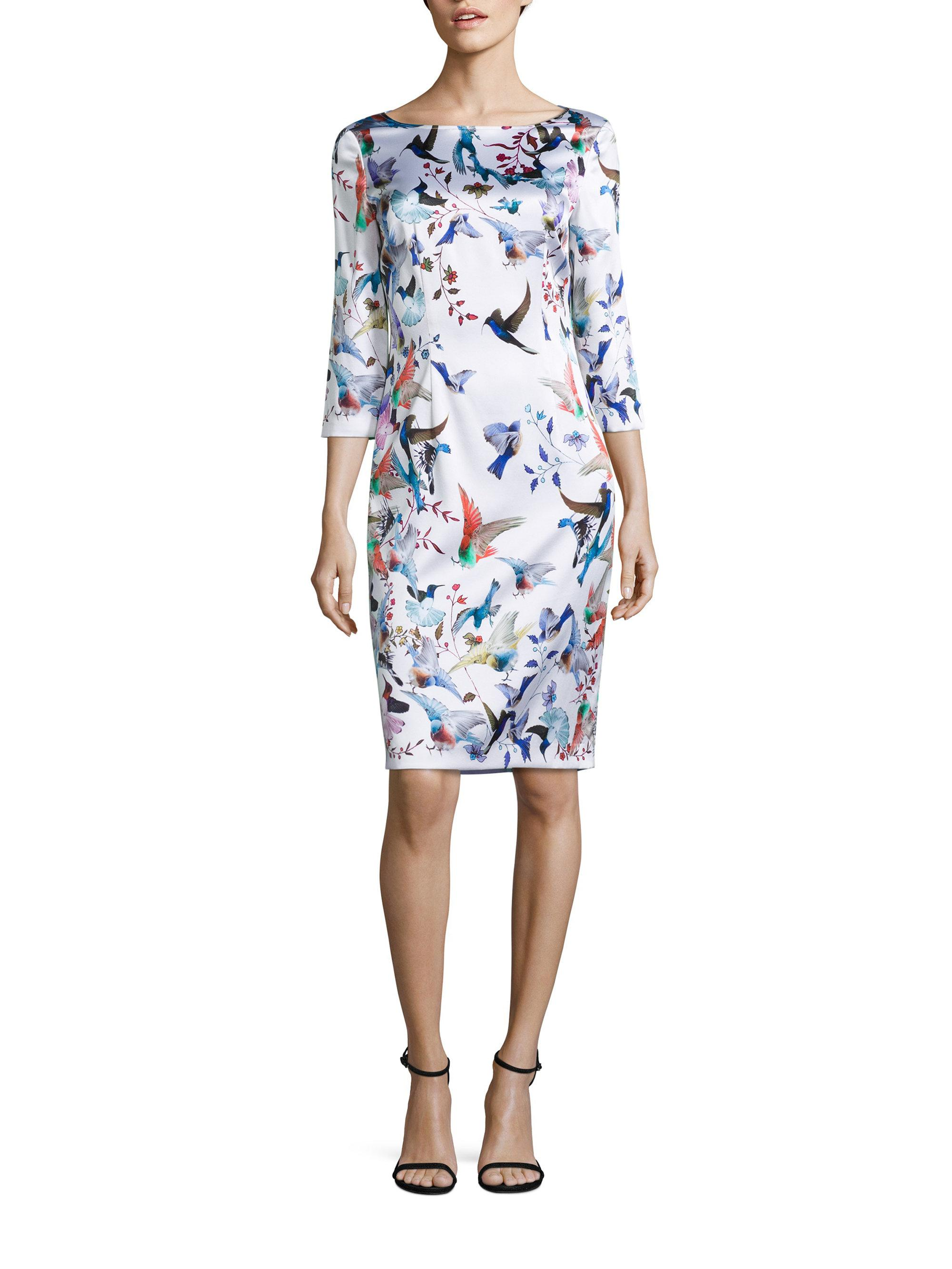 Lyst St John Bird Printed Silk Dress In Blue