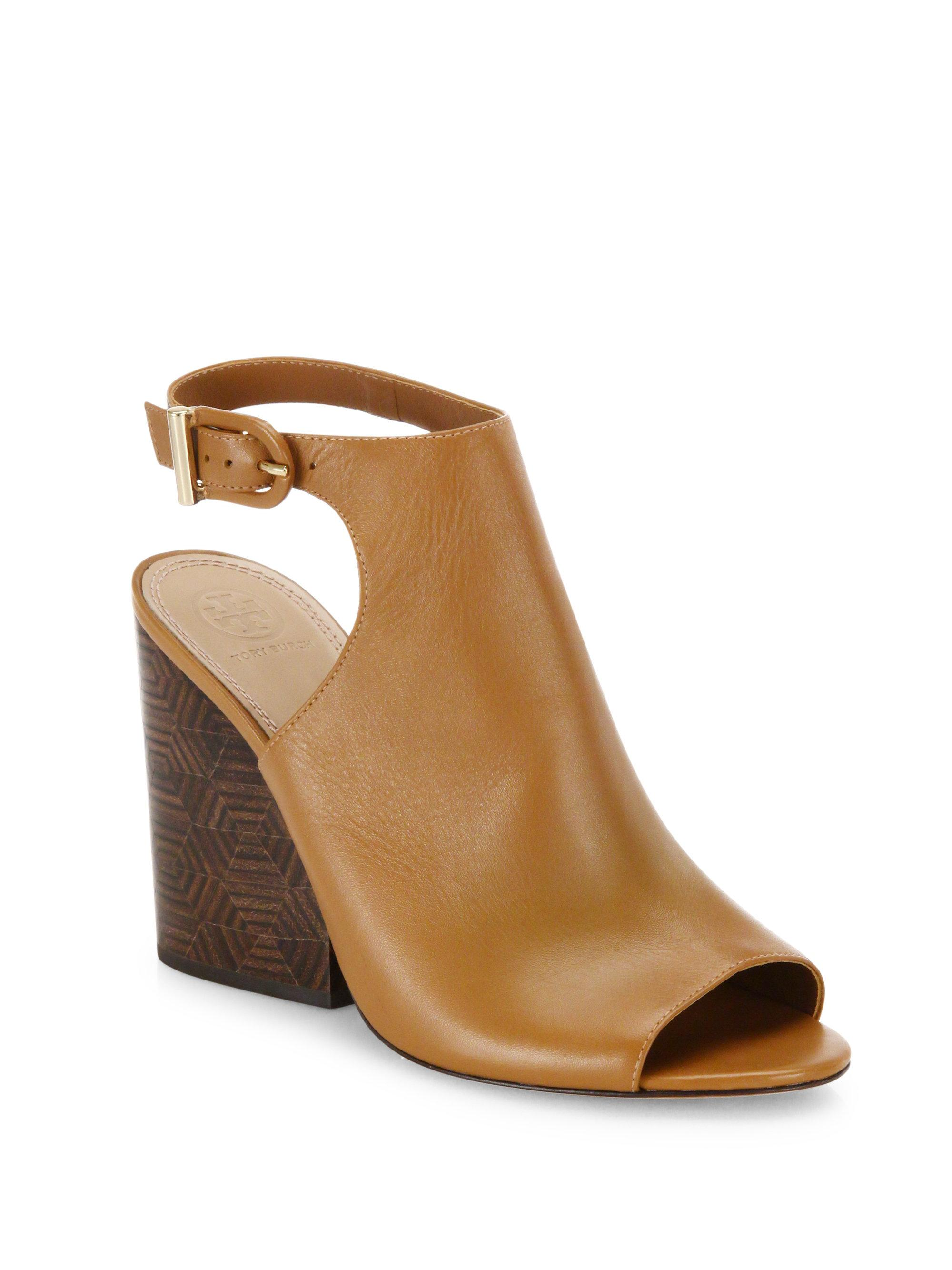 Tory Burch Grove Open Toe Leather Wedge Booties In Brown