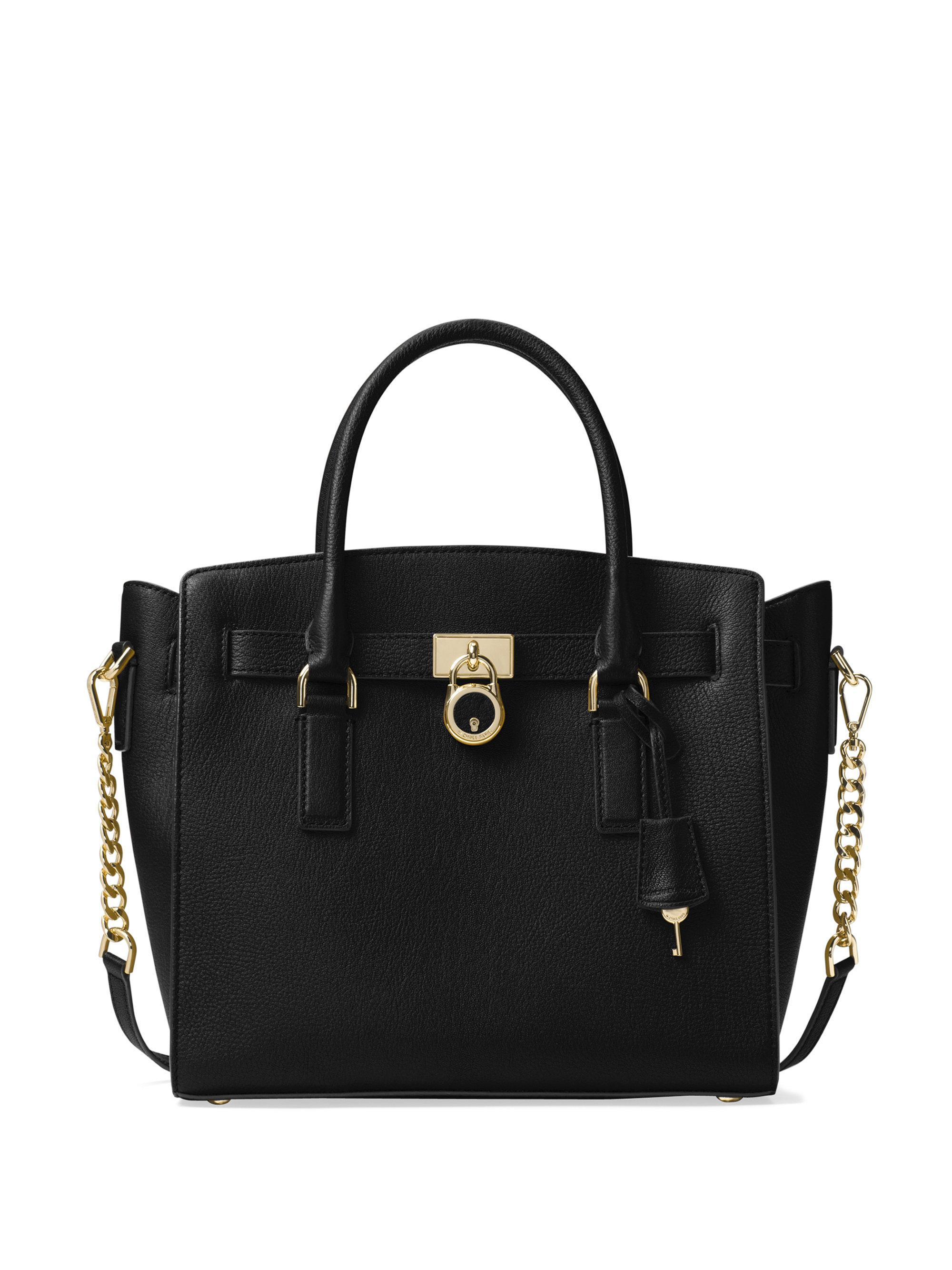 dac70531f6cfff Michael Kors Hamilton Large Black Pebbled Leather Satchel Bag ...