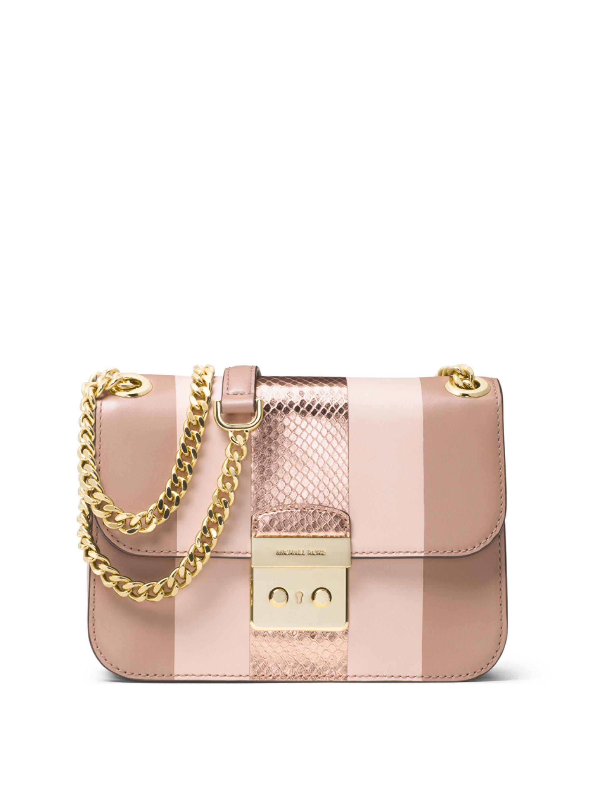8024bc45bb52 MICHAEL Michael Kors - Pink Sloan Editor Medium Striped Leather   Metallic  Snakeskin Chain Shoulder Bag