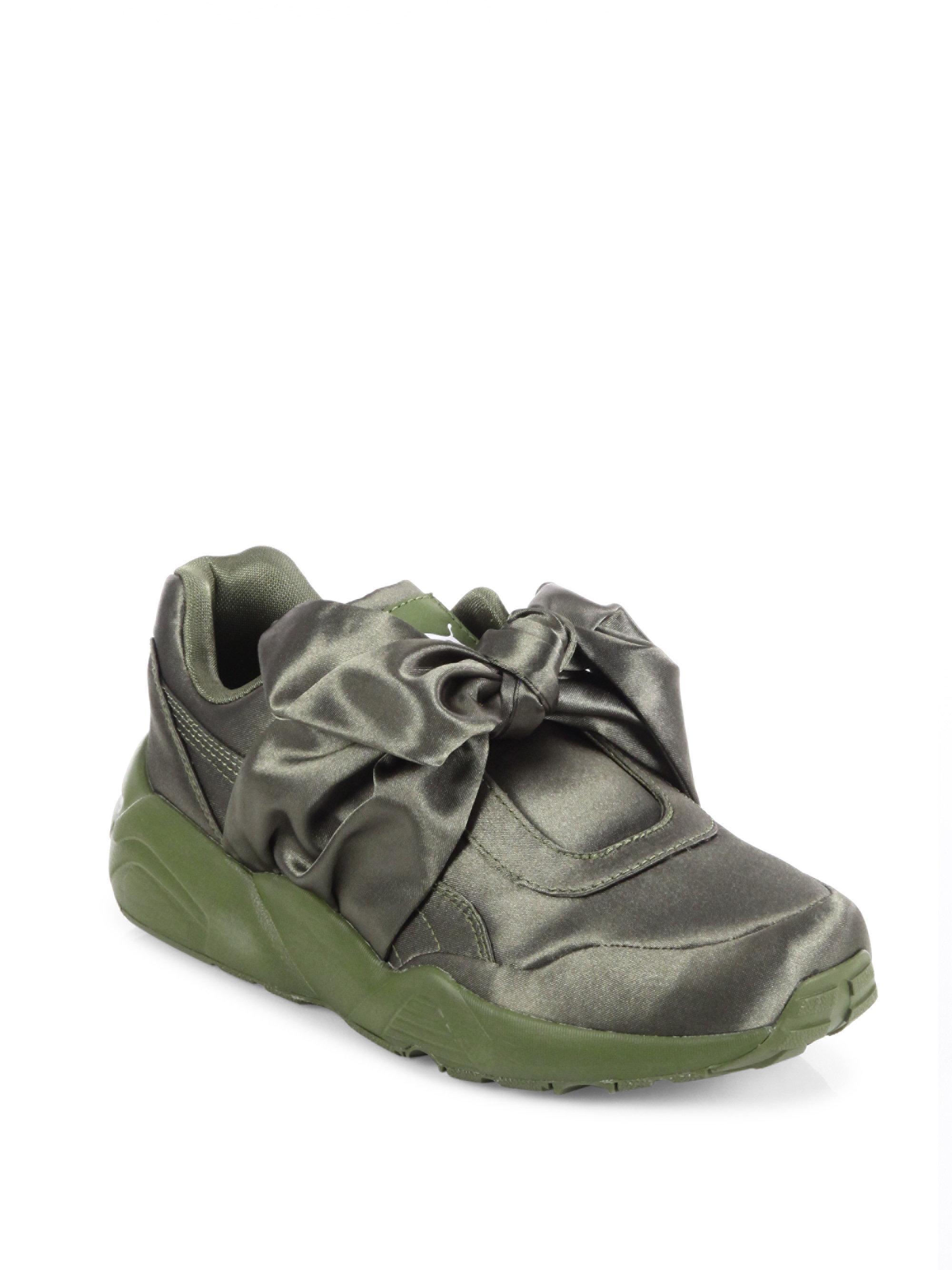 Puma Fenty X Rihanna Satin Bow Sneakers In Green Lyst