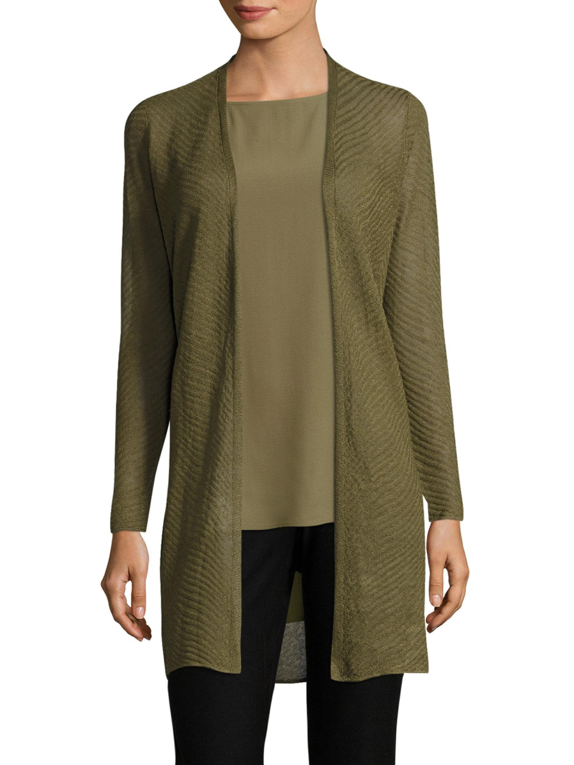 Eileen Fisher Solid Open Front Cardigan In Green Lyst