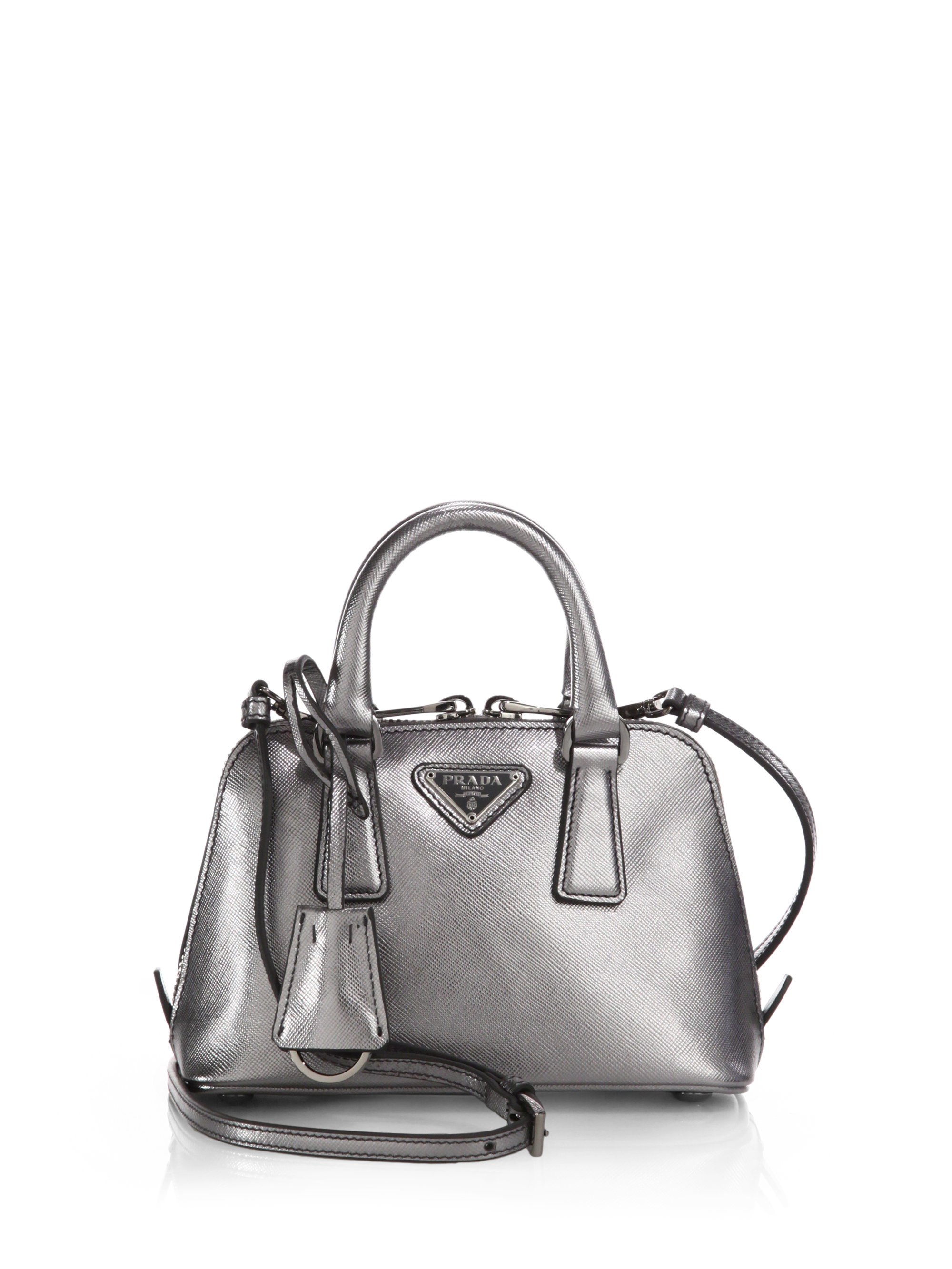 654326348e61 Prada Saffiano Lux Mini Promenade Bag in Metallic - Lyst