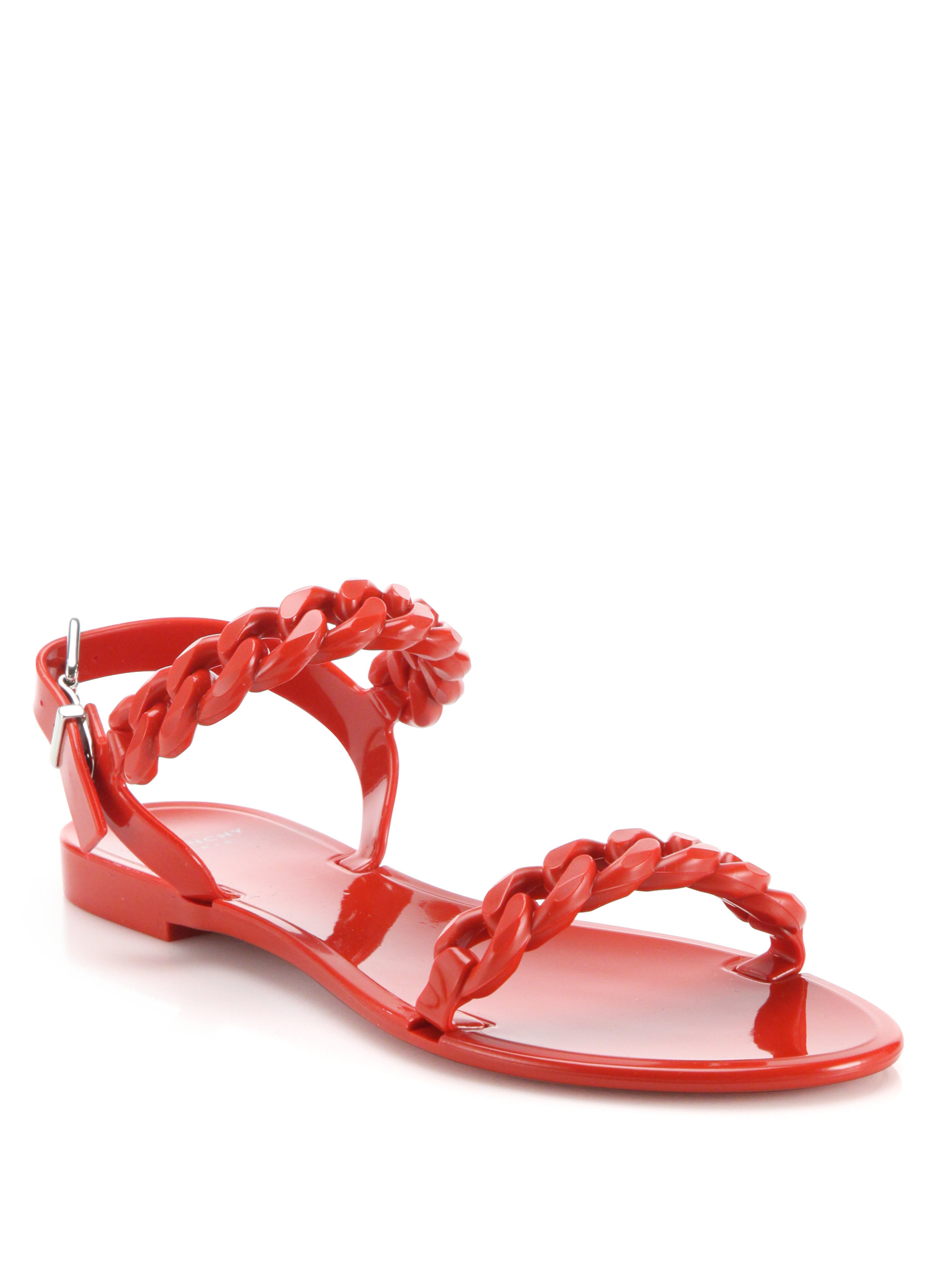 b1d4bcd5563a Lyst - Givenchy Nea Jelly Flat Sandals in Red