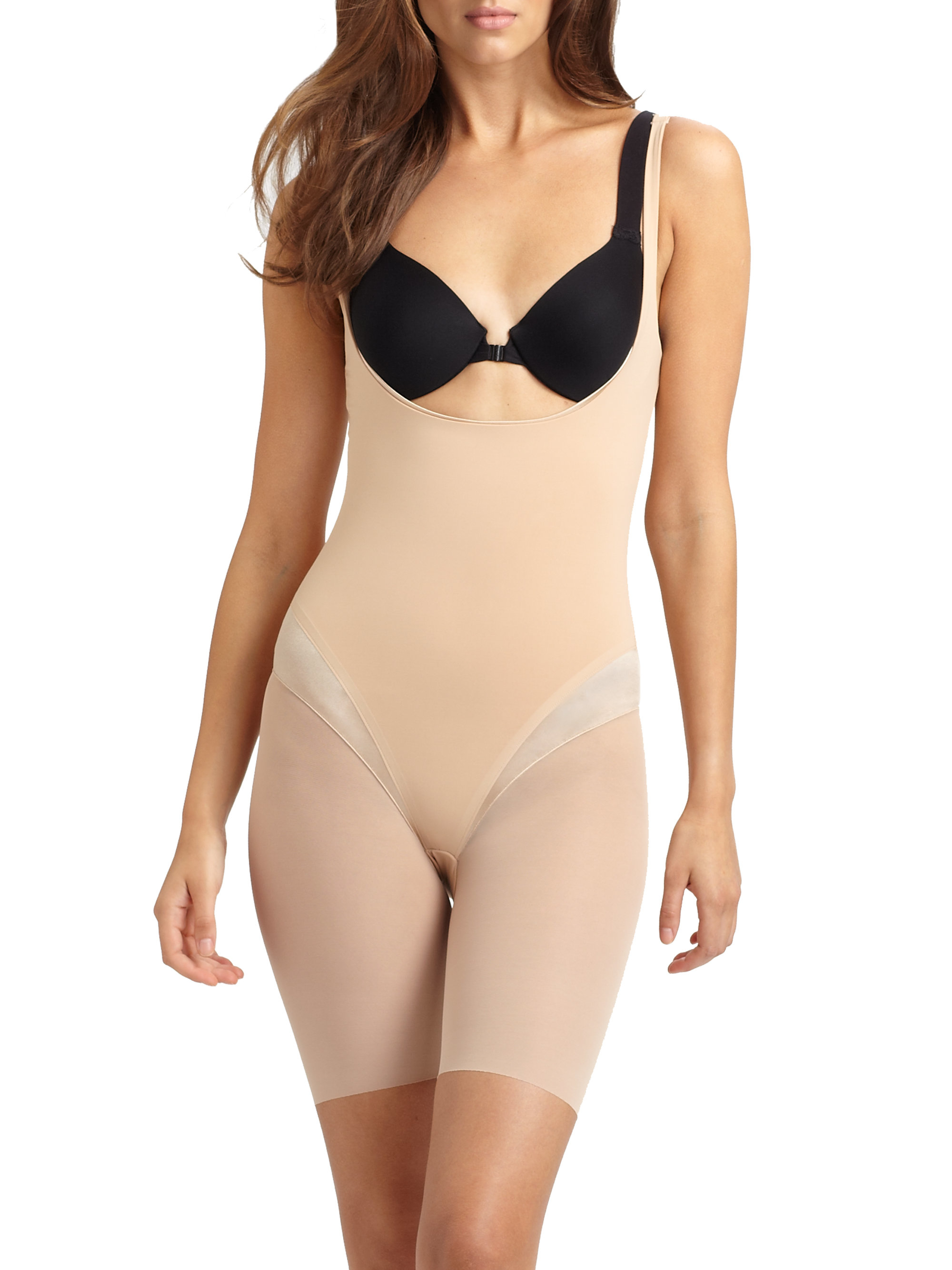 Spanx Haute Contour Open-bust Mid-thigh Bodysuit in Pink | Lyst
