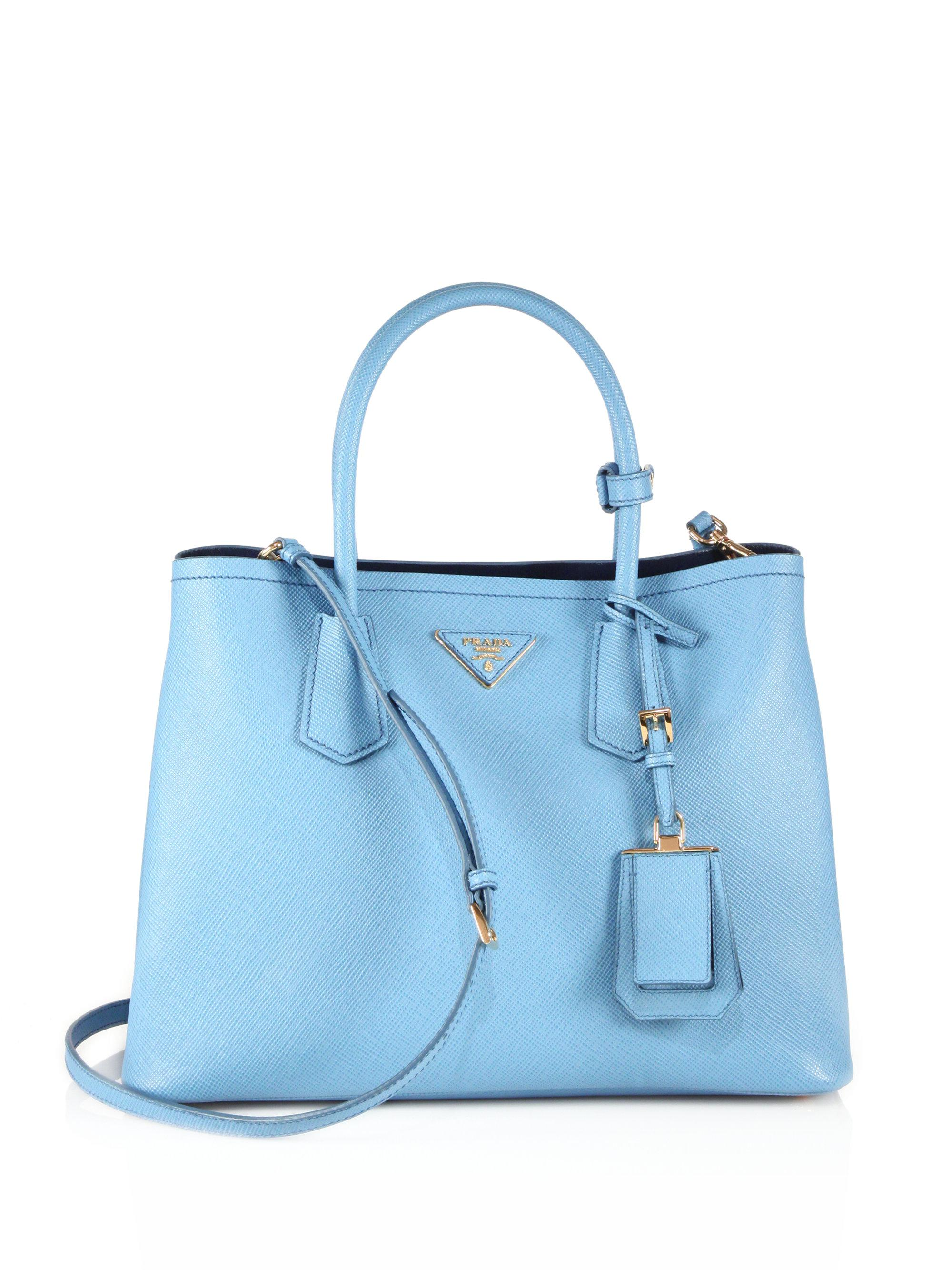 5c01a6761320f7 ... order prada. womens blue saffiano cuir medium double bag 04b17 696bf
