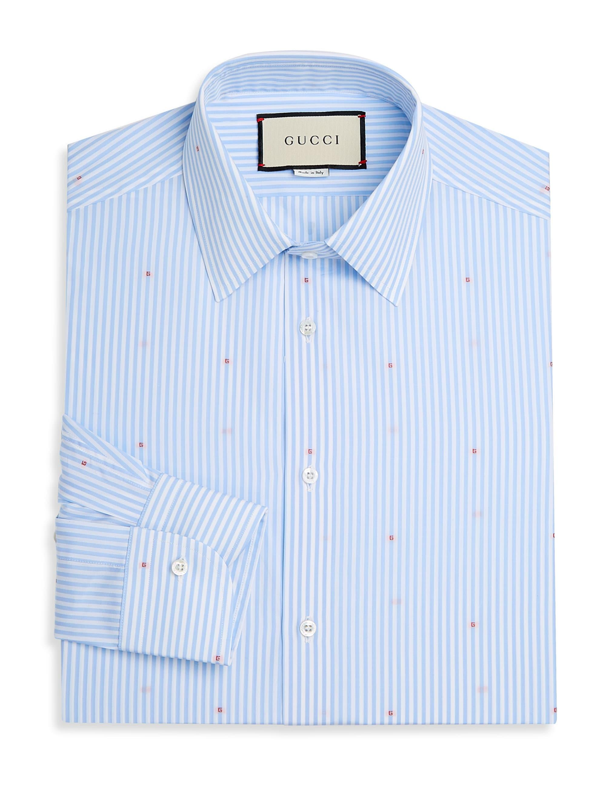 5041baf5754 Lyst - Gucci Micro-g Stripe Fil Coupé Shirt in Blue for Men