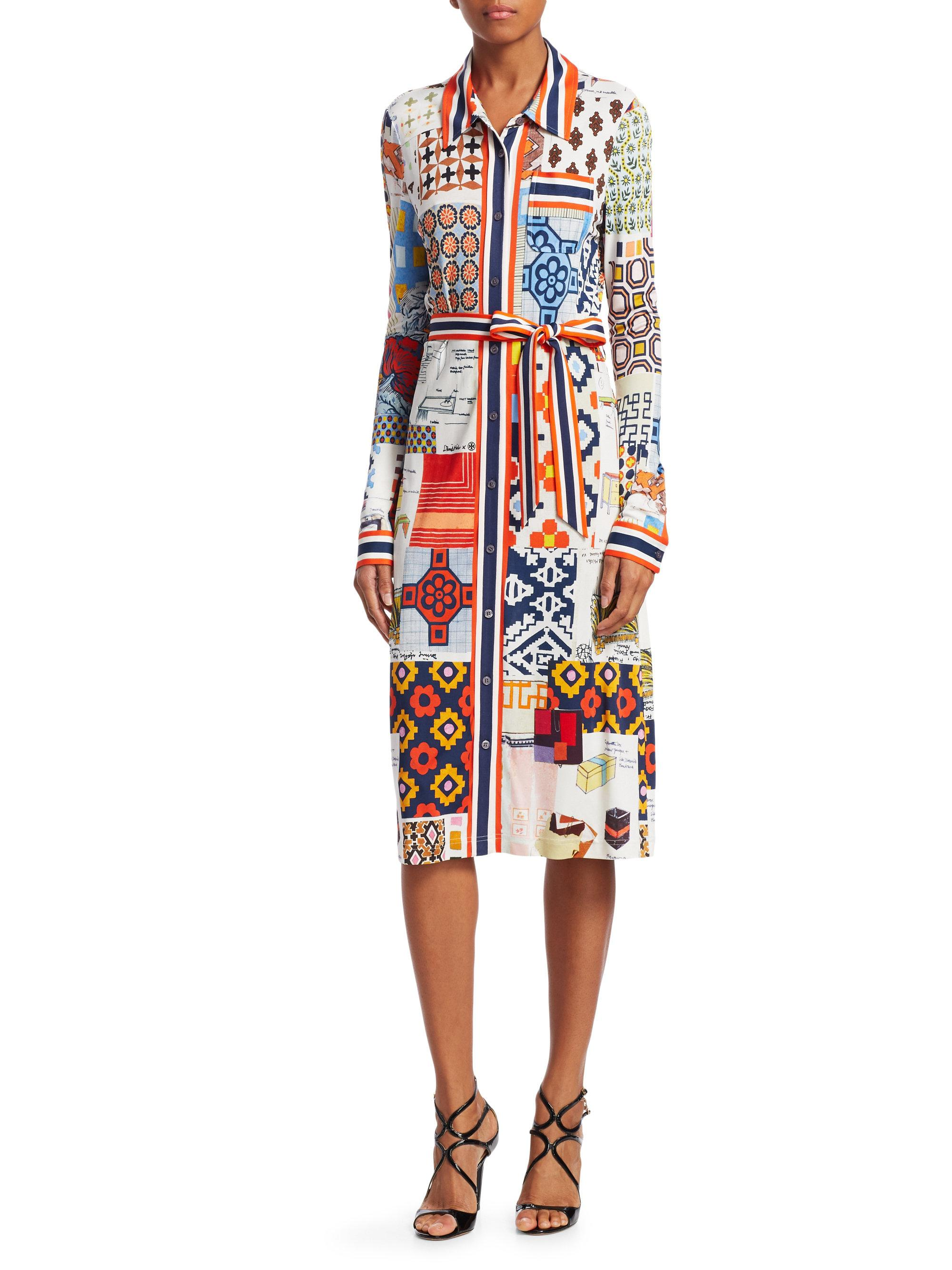 ea6a3f0d0a0 Tory Burch Laurence Printed Shirtdress - Lyst