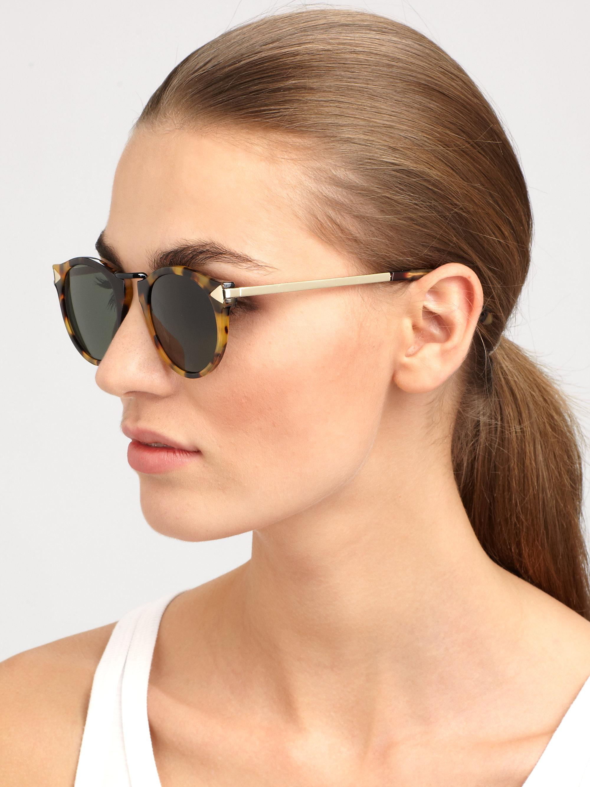 6ca619d2208b Lyst - Karen Walker Helter Skelter Round Sunglasses crazy Tortoise ...