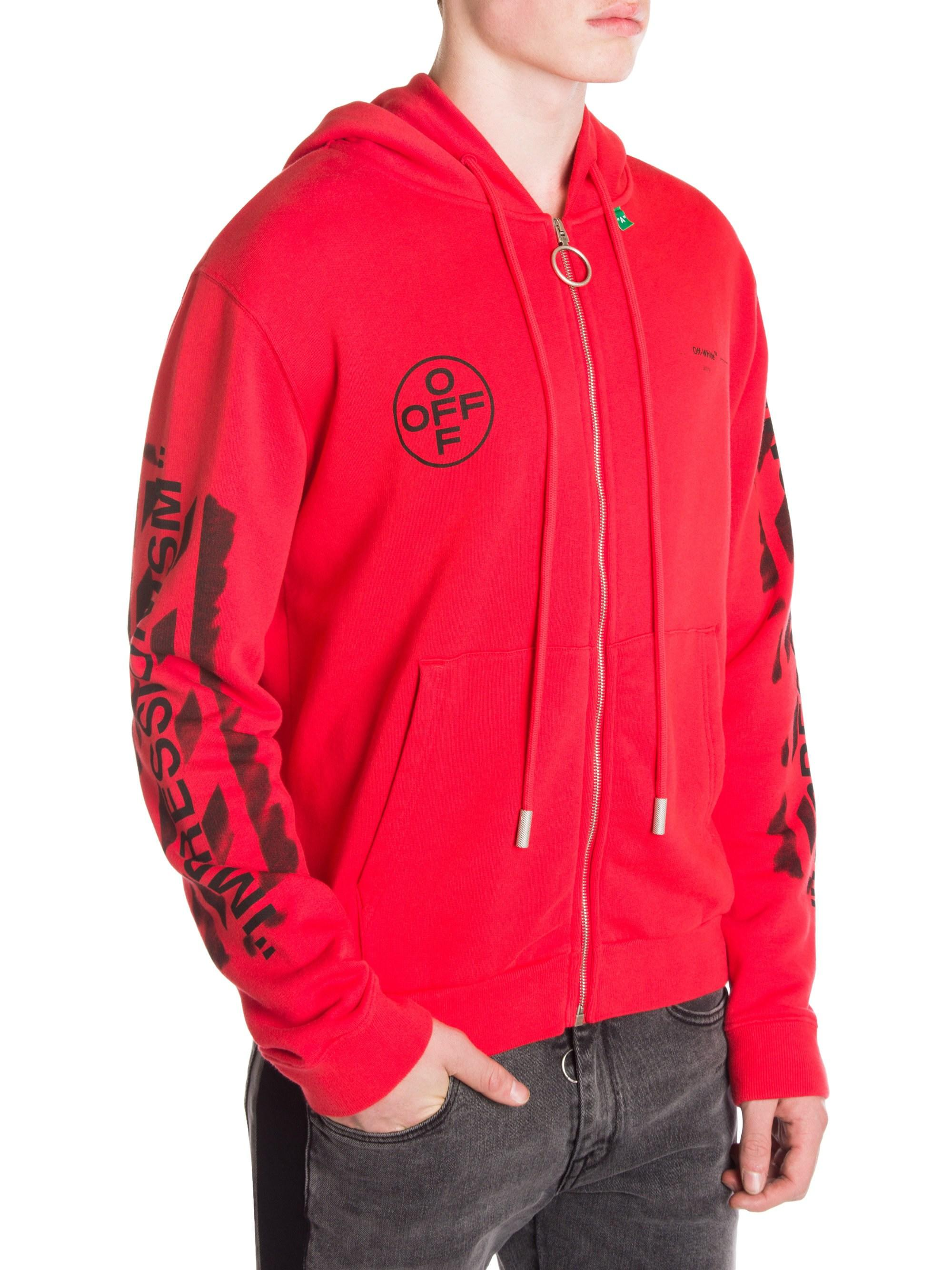 b972447b6615 Lyst - Off-White c o Virgil Abloh Diagonal Stencil Hoodie in Red for Men -  Save 34%