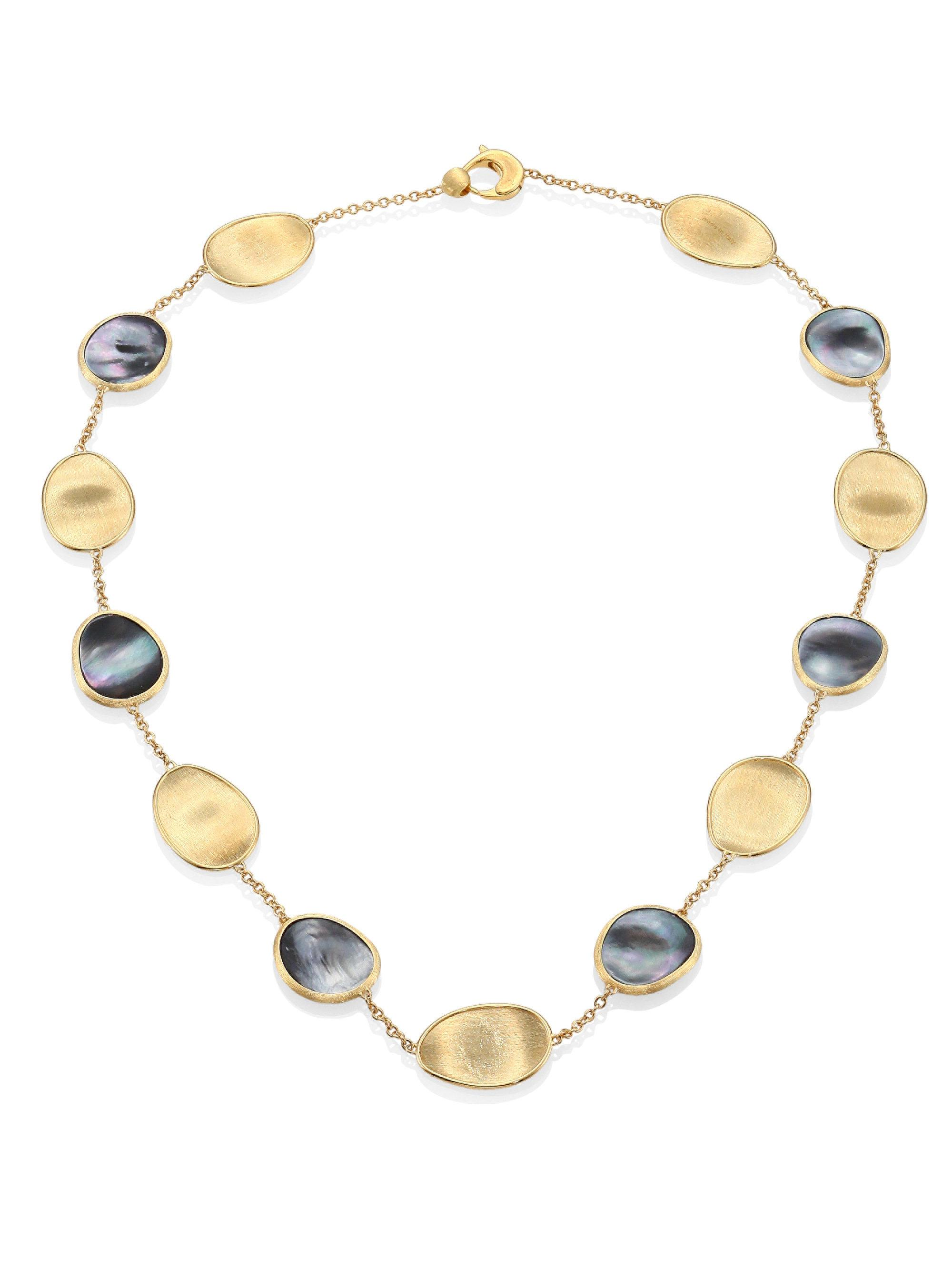 Marco Bicego Lunaria 18k Gold Collar Necklace with Black Mother-of-Pearl & Diamond LaV4FHj