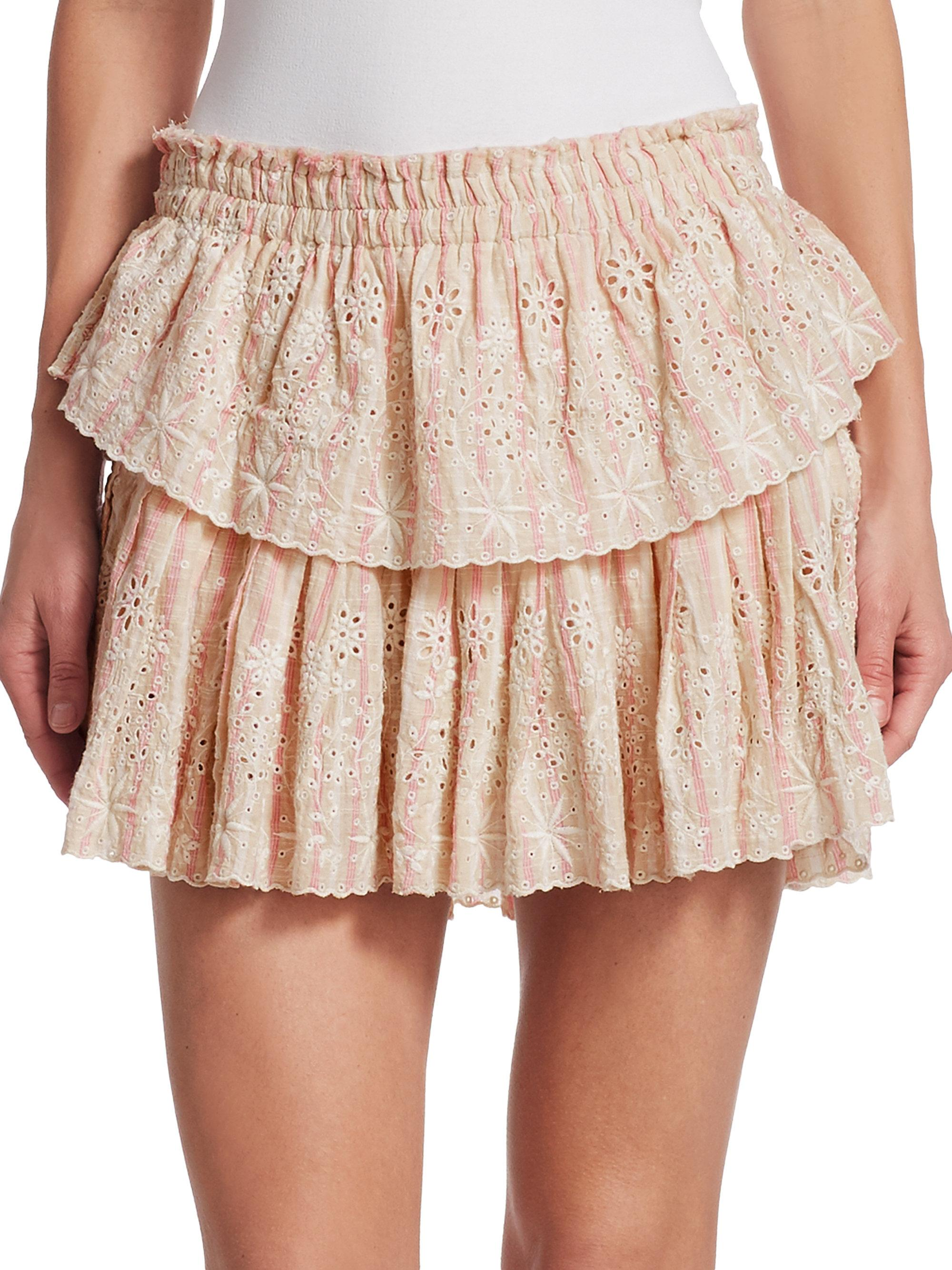 2ed8396aaf LoveShackFancy Ruffle Eyelet Mini Skirt - Lyst