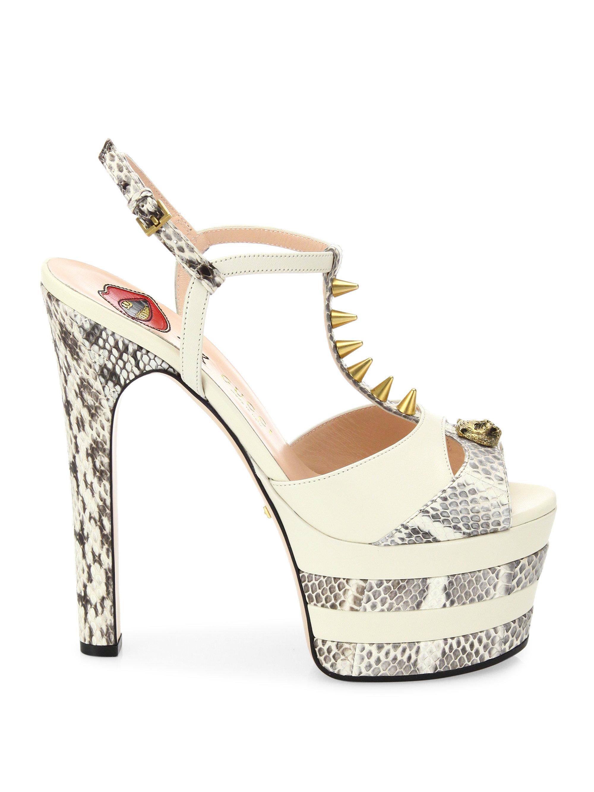 af1f624a03 Gucci Angel Leather & Snakeskin Peep Toe Platform T-strap Sandals in ...