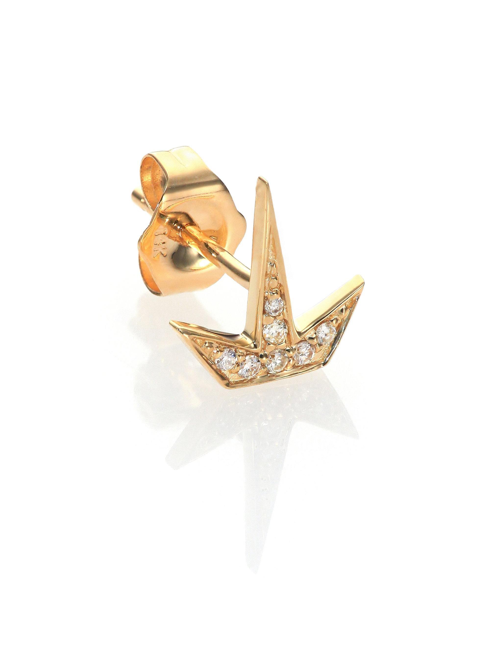 Sydney Evan Mini Butterfly Stud Earring with Diamonds eMSnw