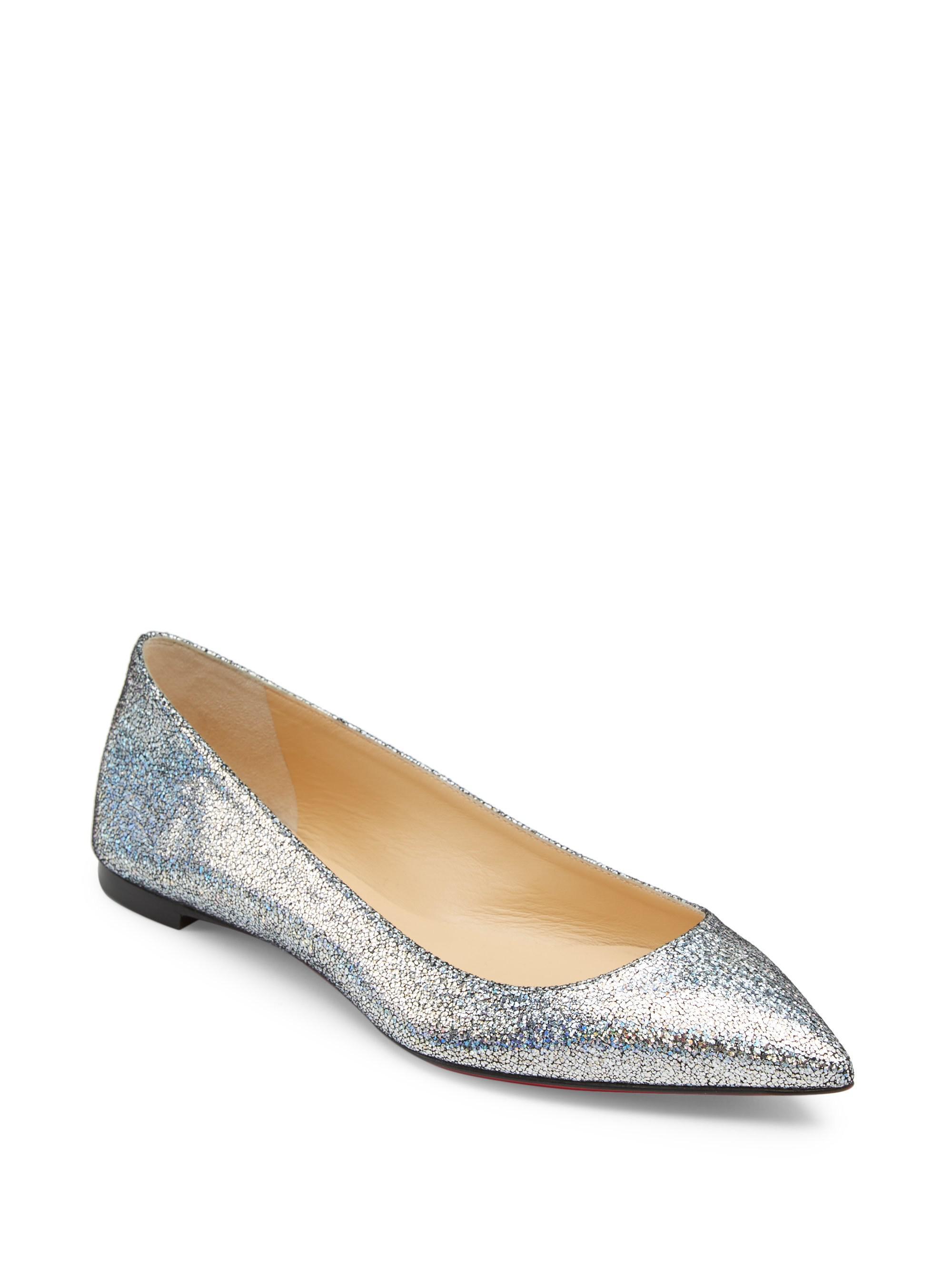 c90424706e74 Christian Louboutin Ballalla Glitter Suede Flats in Metallic - Save ...