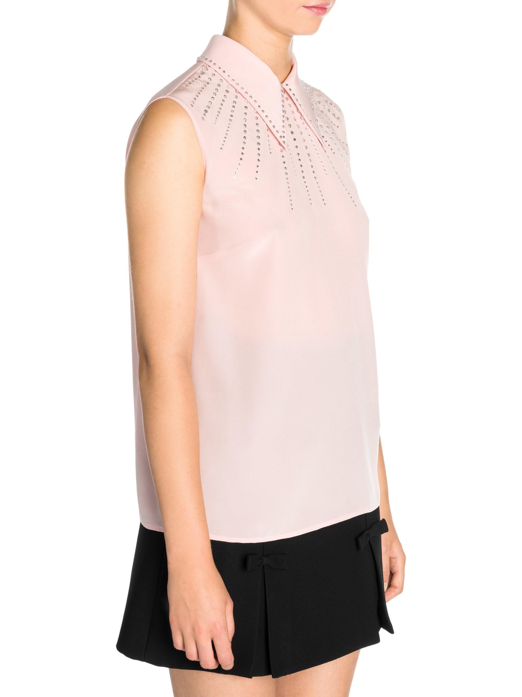 84f5e4dd1c507 Lyst miu crystal embellished point collar blouse in pink jpg 2000x2667  Crystal collar blouse