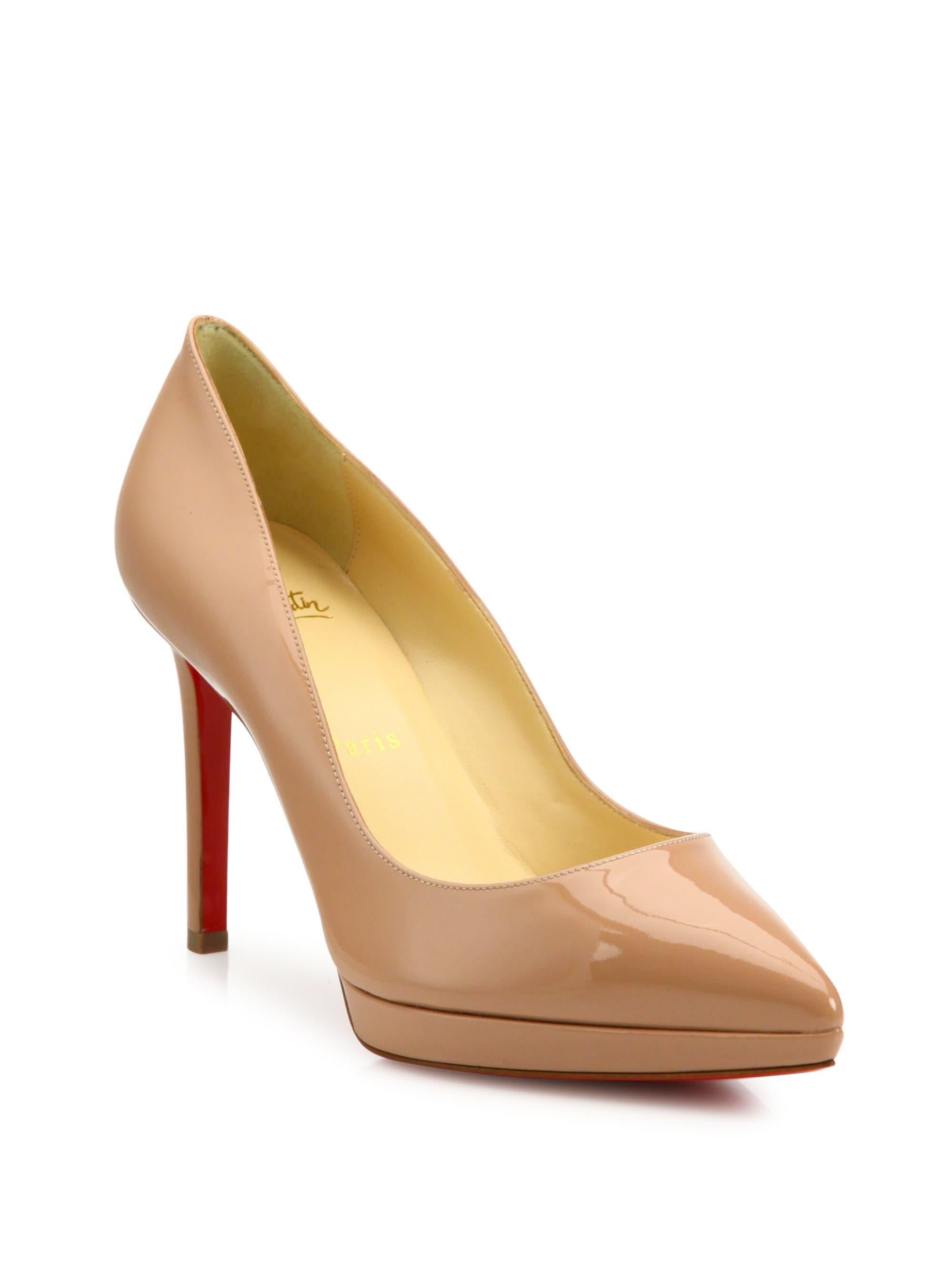 6993a9d60c31 Christian Louboutin. Women s Natural Pigalle 100 Patent Leather Platform  Court Shoes