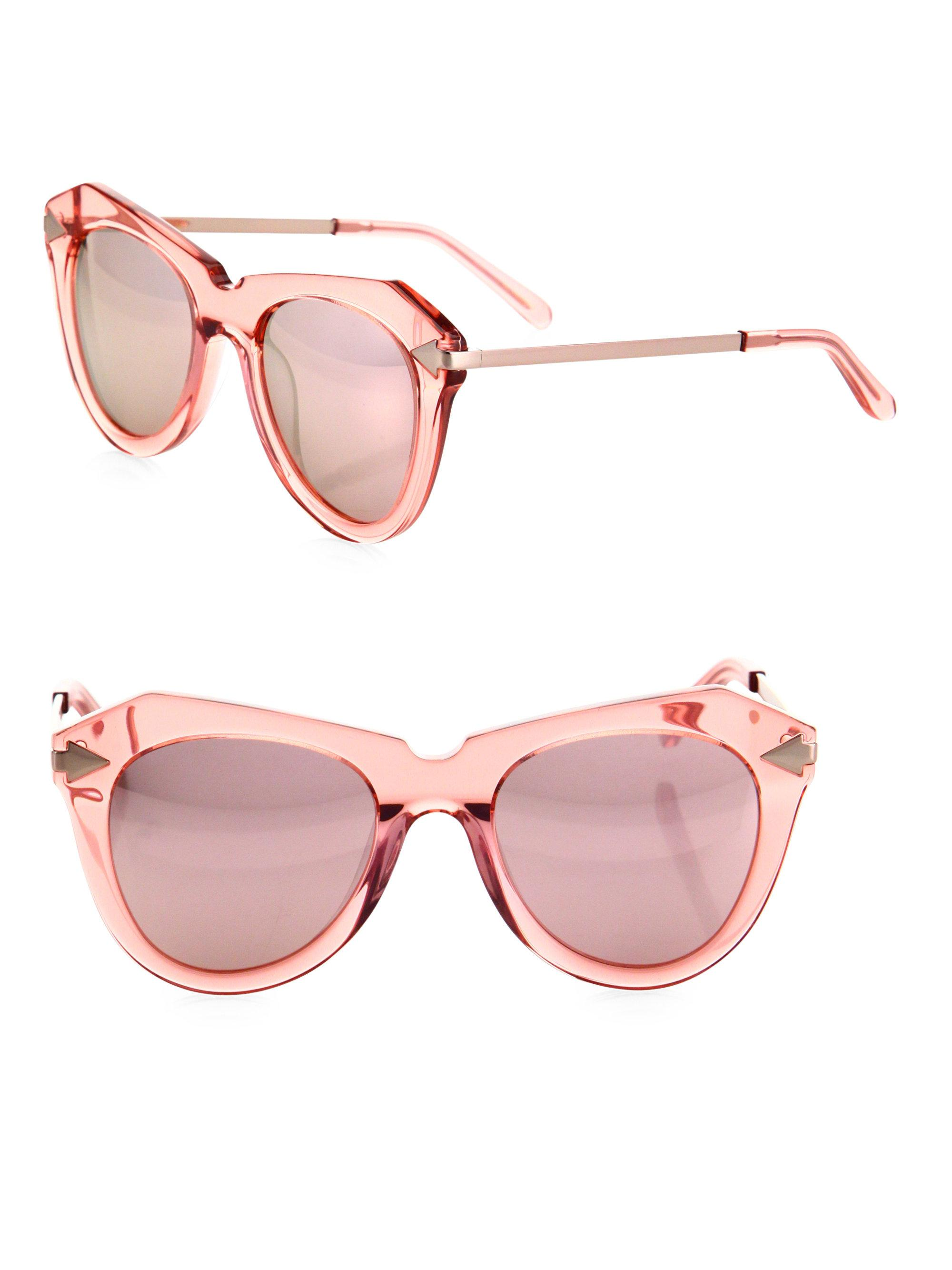22c9e6930ea Karen Walker One Star 51mm Mirrored Cat Eye Sunglasses in Pink - Lyst