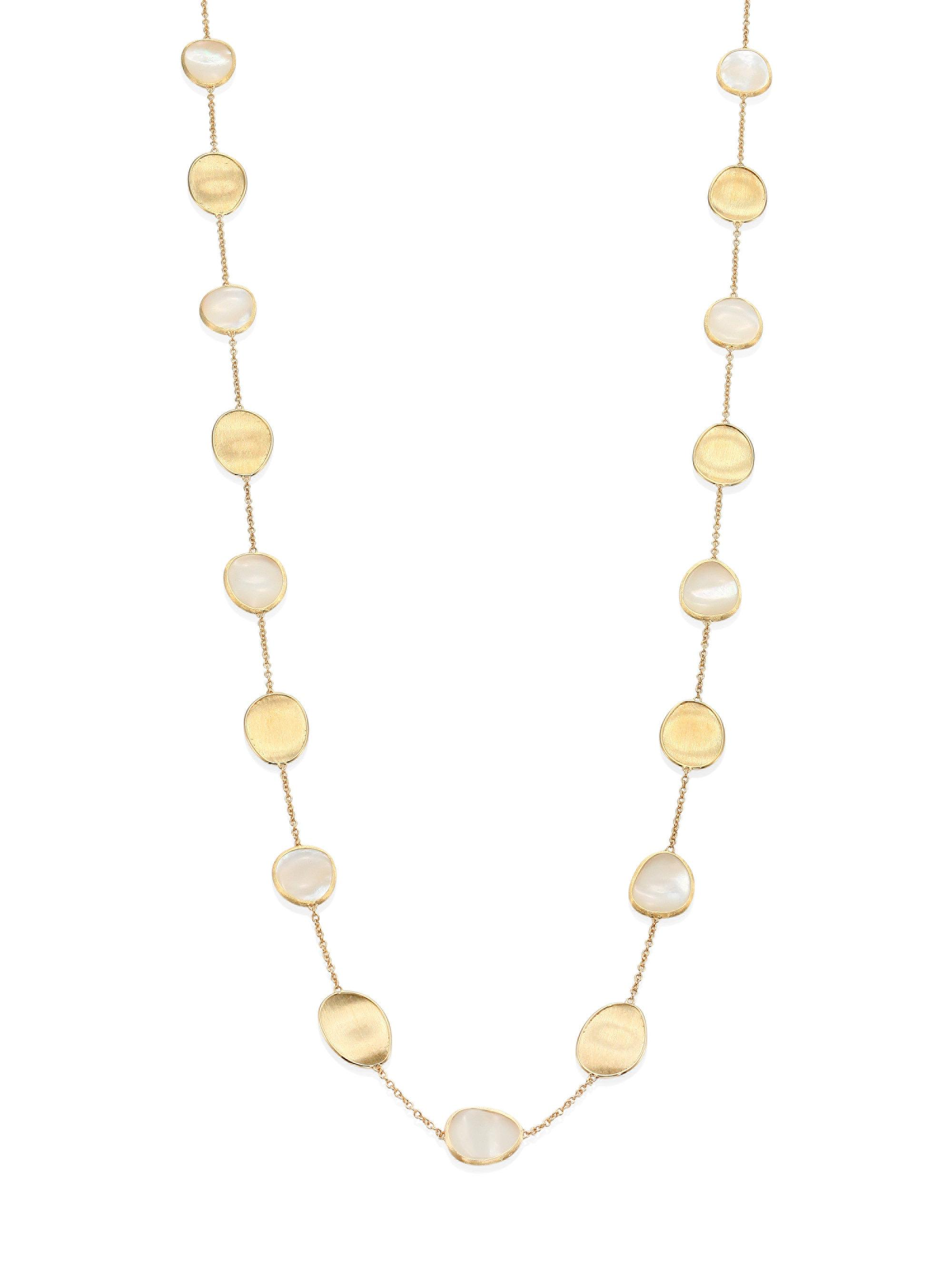 Marco Bicego Lunaria Long Mother-of-Pearl Station Necklace, 36