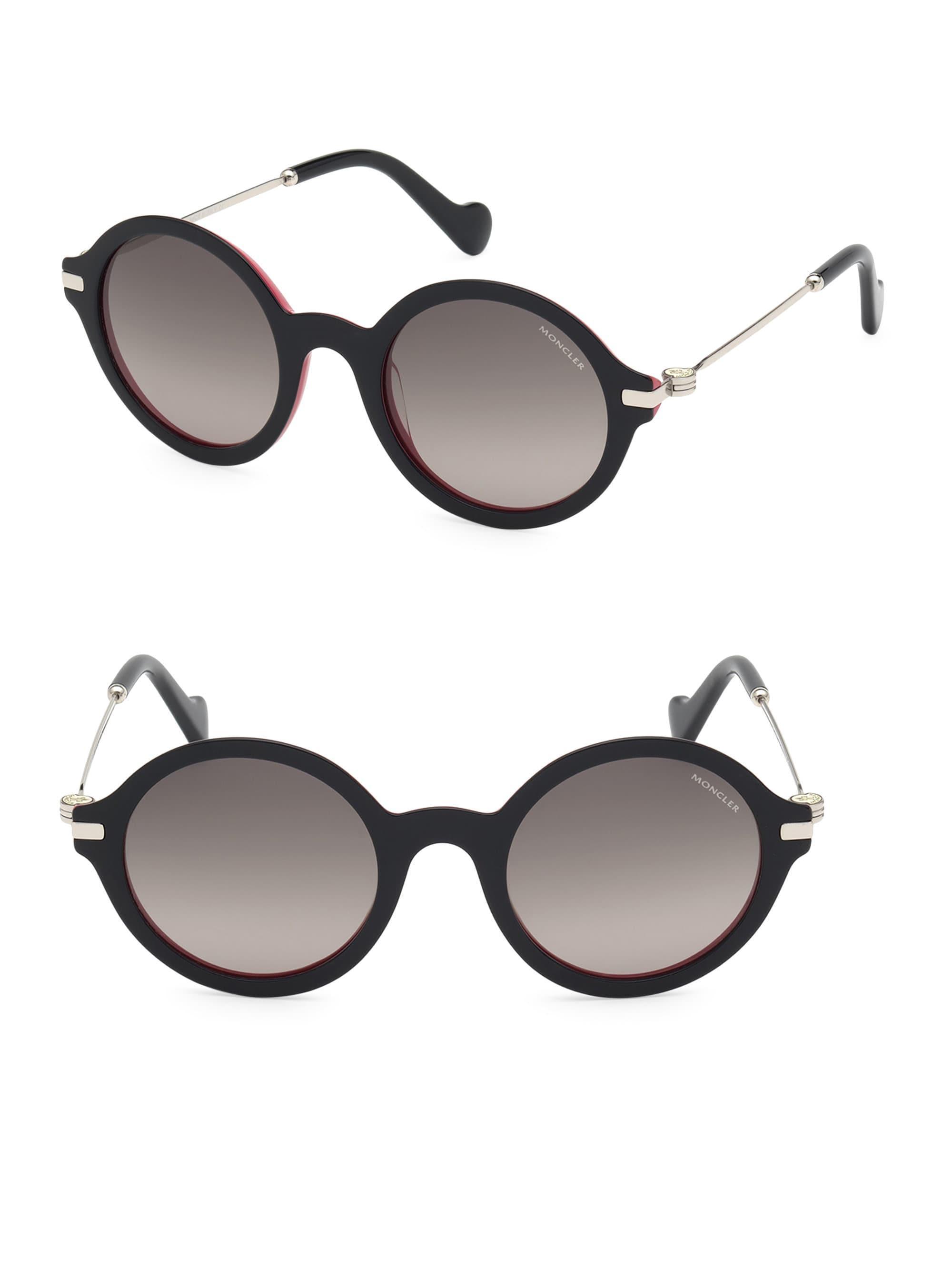 931a9785fdcf Moncler - Black 50mm Round Sunglasses - Lyst. View fullscreen