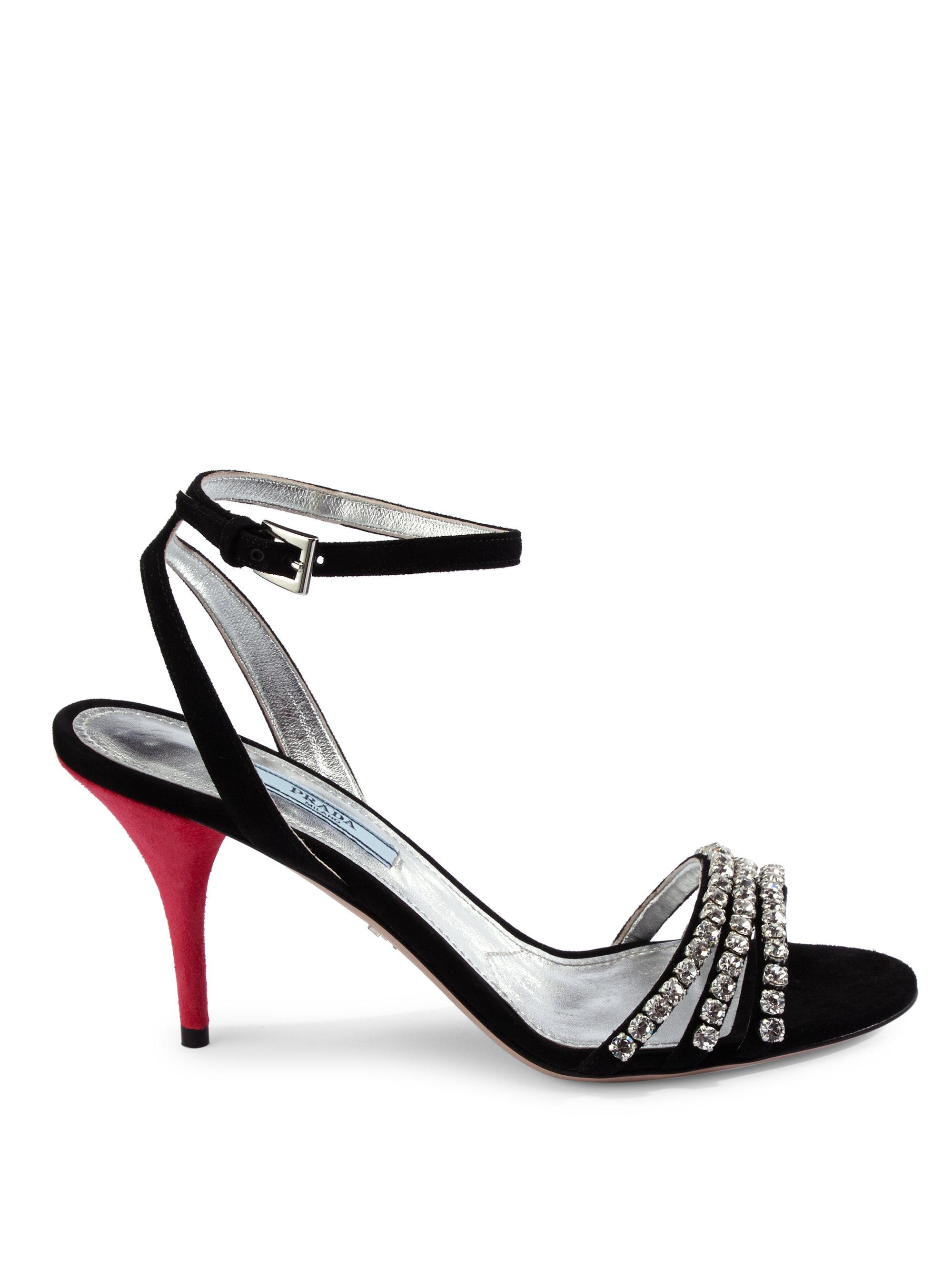 Prada Jeweled Suede Ankle-Strap Sandals xWXZkIdf