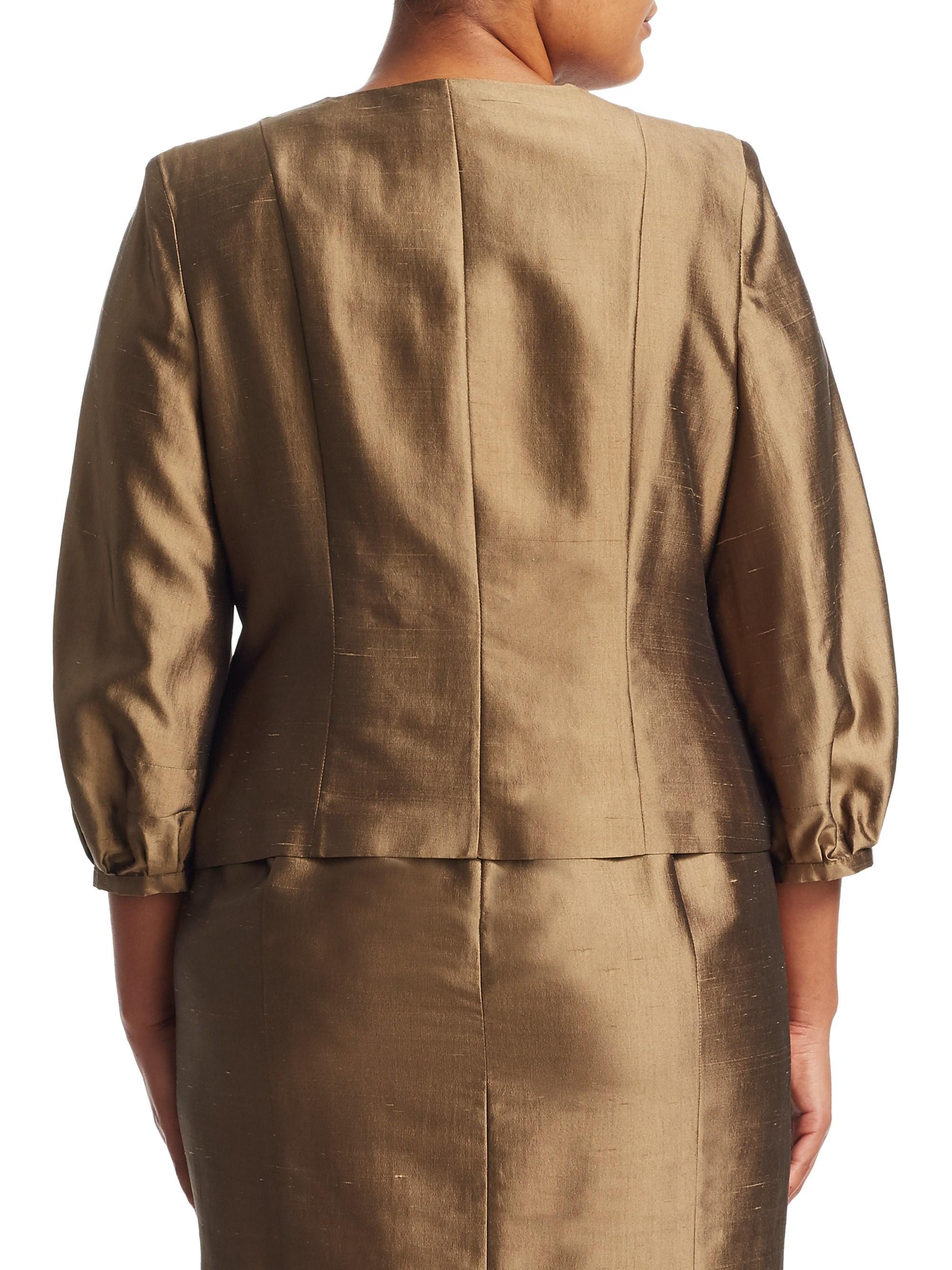 b729ddaf07c Marina Rinaldi Certezza Silk Jacket in Brown - Lyst