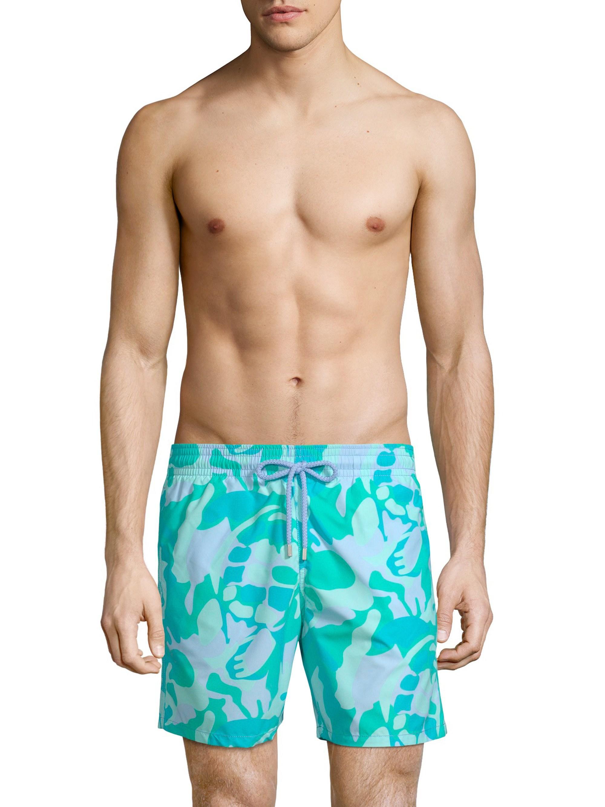 e63f5dc667 Vilebrequin Men's Camouflage Turtle Swim Trunks - Sky Blue in Blue for Men  - Save 2% - Lyst