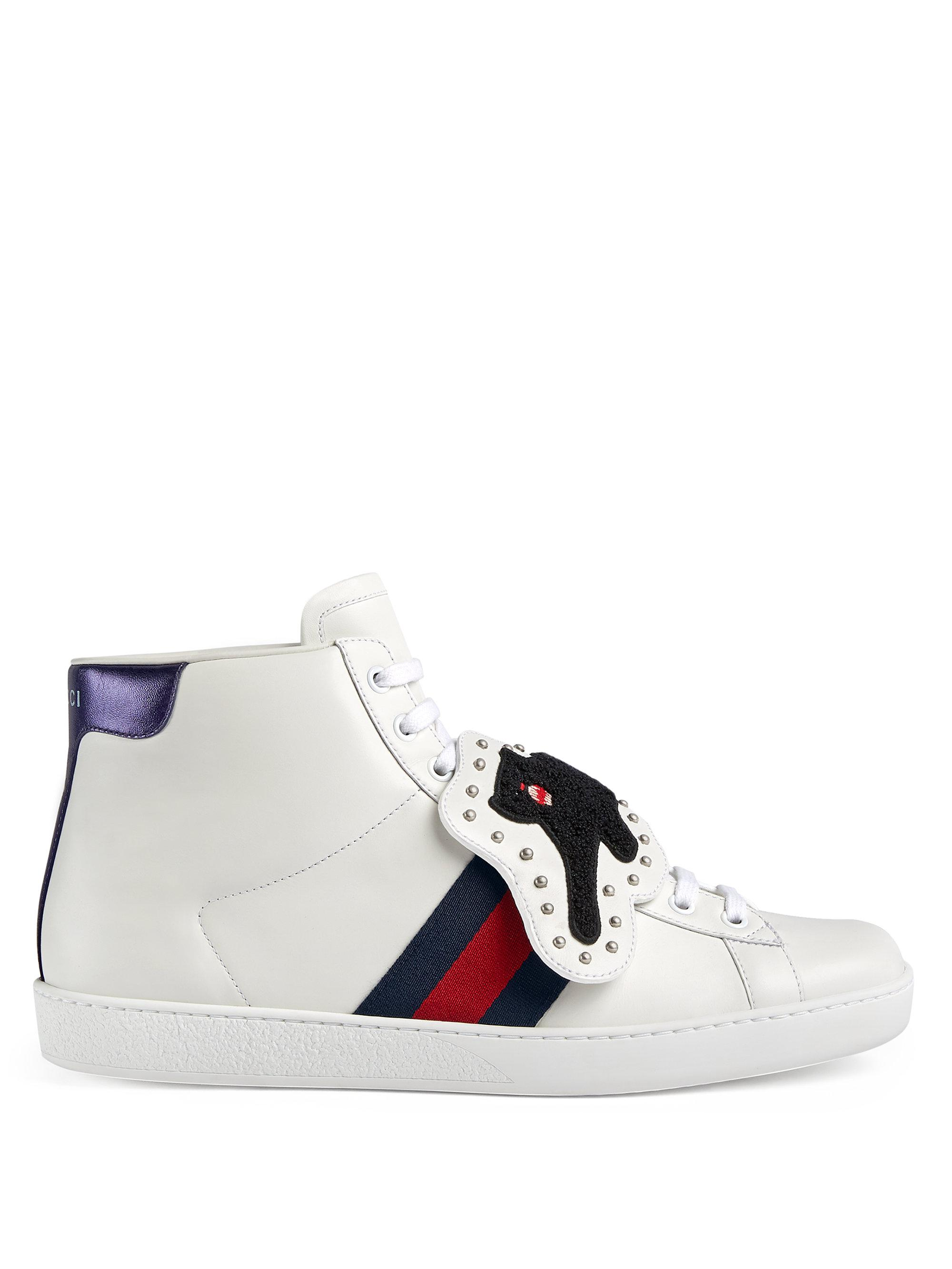 Gucci New Ace Black Panther Patch Leather Sneaker iCgZ6