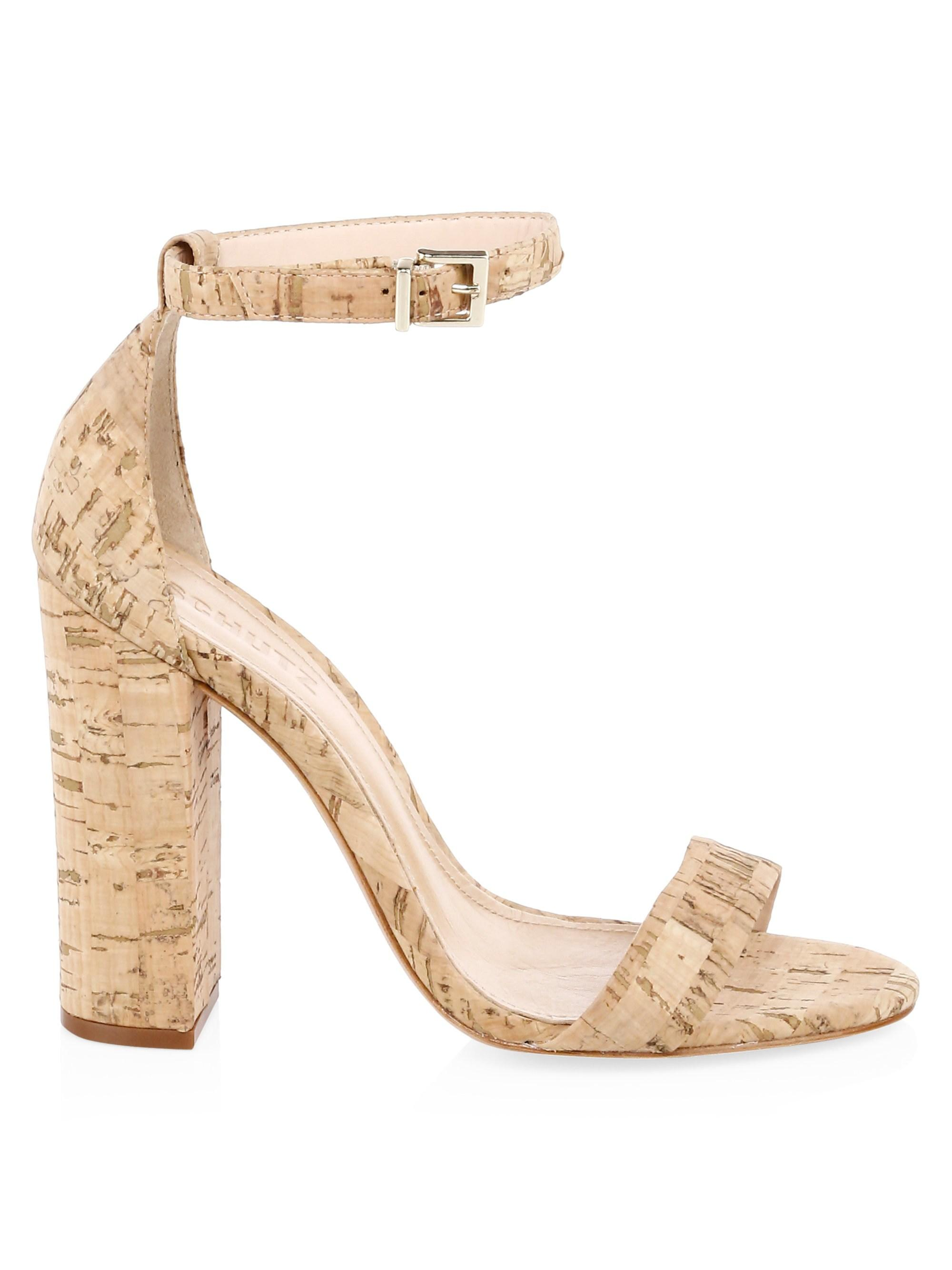 6a85b6e5161e Lyst - Schutz Enida Cork Ankle-strap Heels in Natural