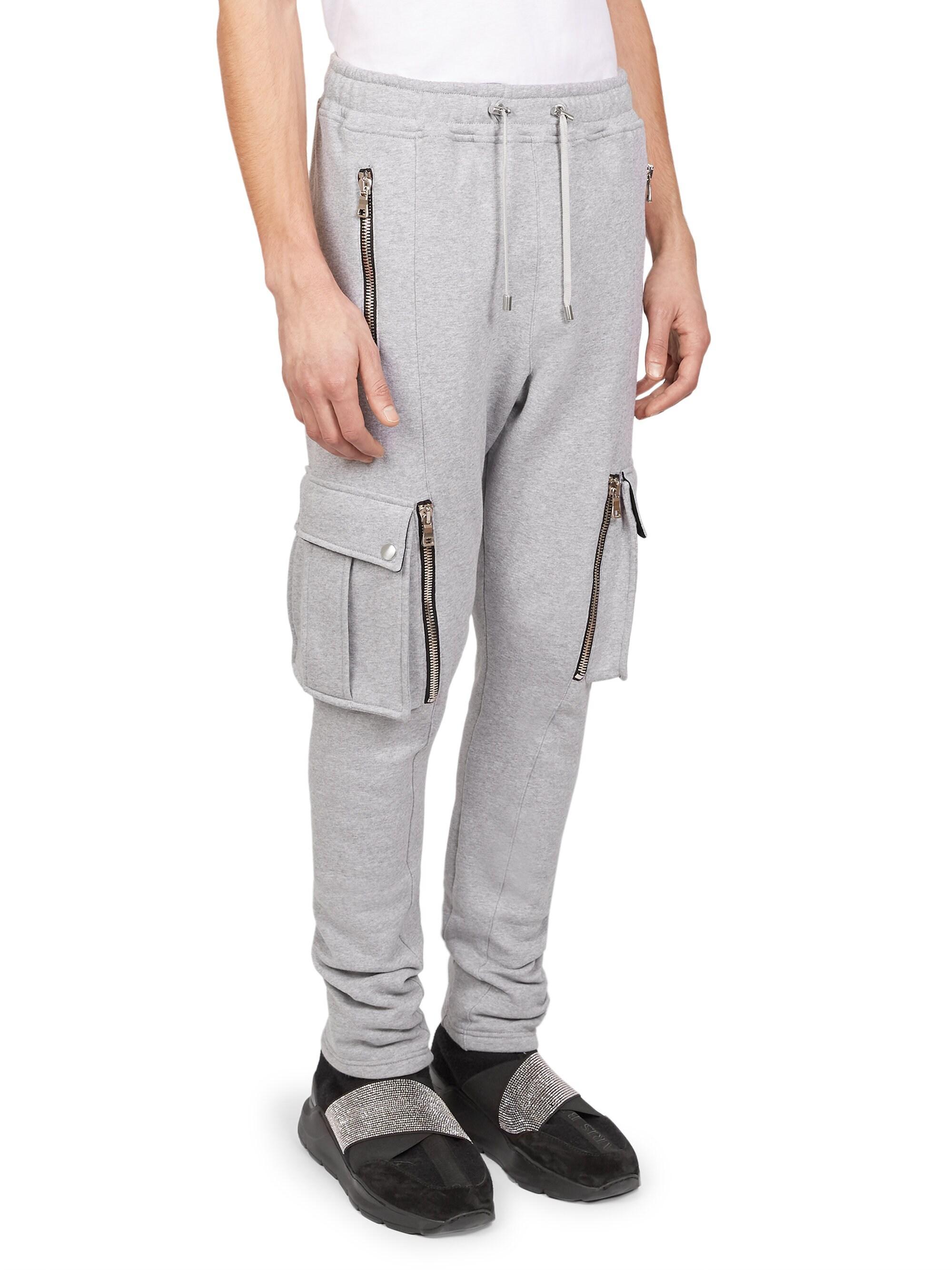 24d7e518bb7 Balmain Men's Cargo Zip Sweatpants - Grey in Gray for Men - Lyst