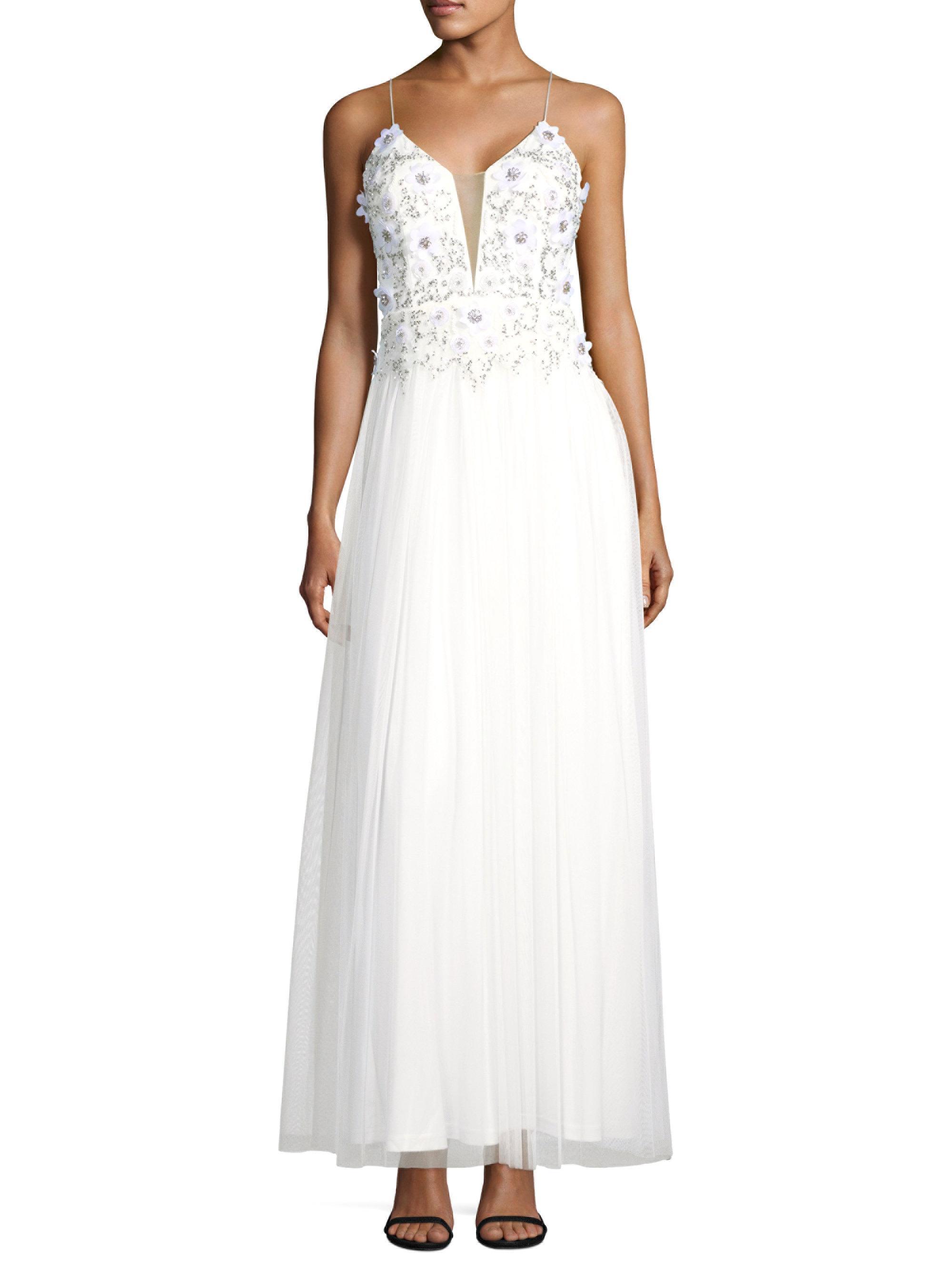Lyst - Aidan Mattox Beaded Mesh Gown in White
