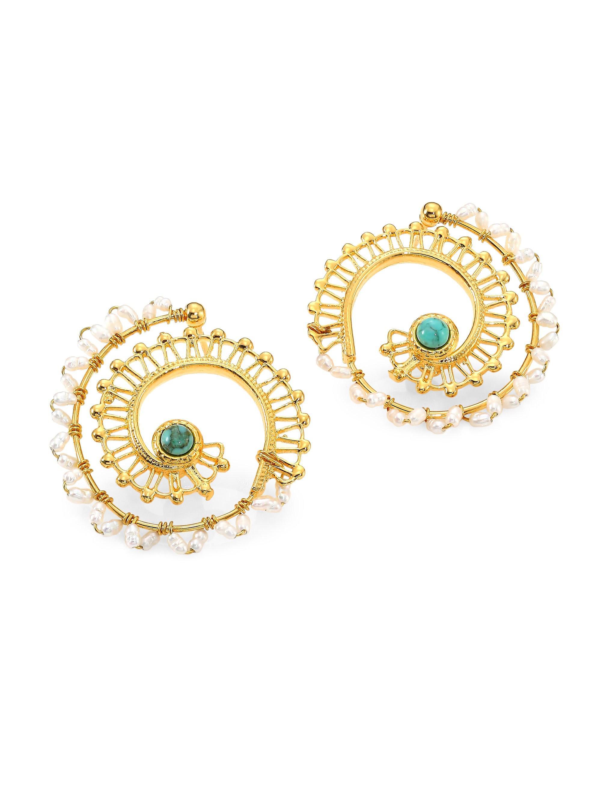 8bcb25cb0816b Lyst - Gas Bijoux Comedia 24k Goldplated Multi-bead Hoop Earrings in ...