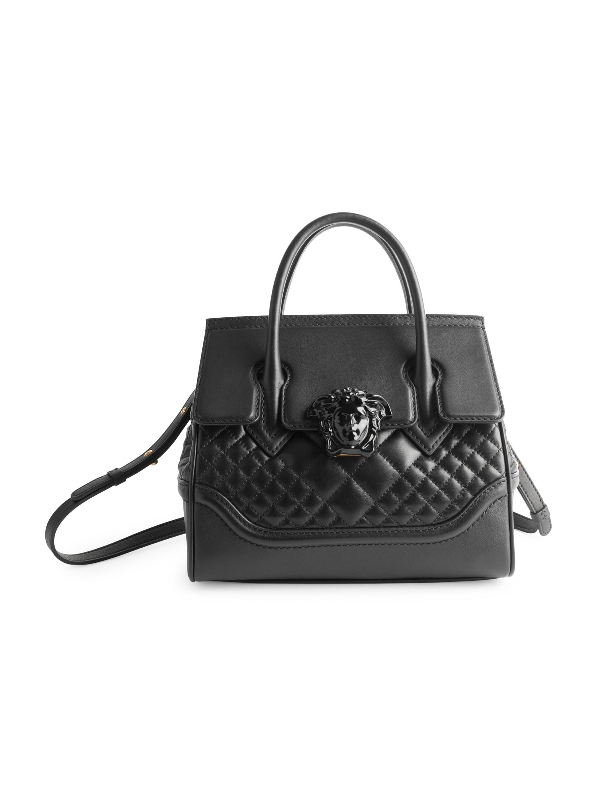 32fb41fb2f99 Lyst - Versace Quilted Palazzo Empire Top Handle Bag in Black