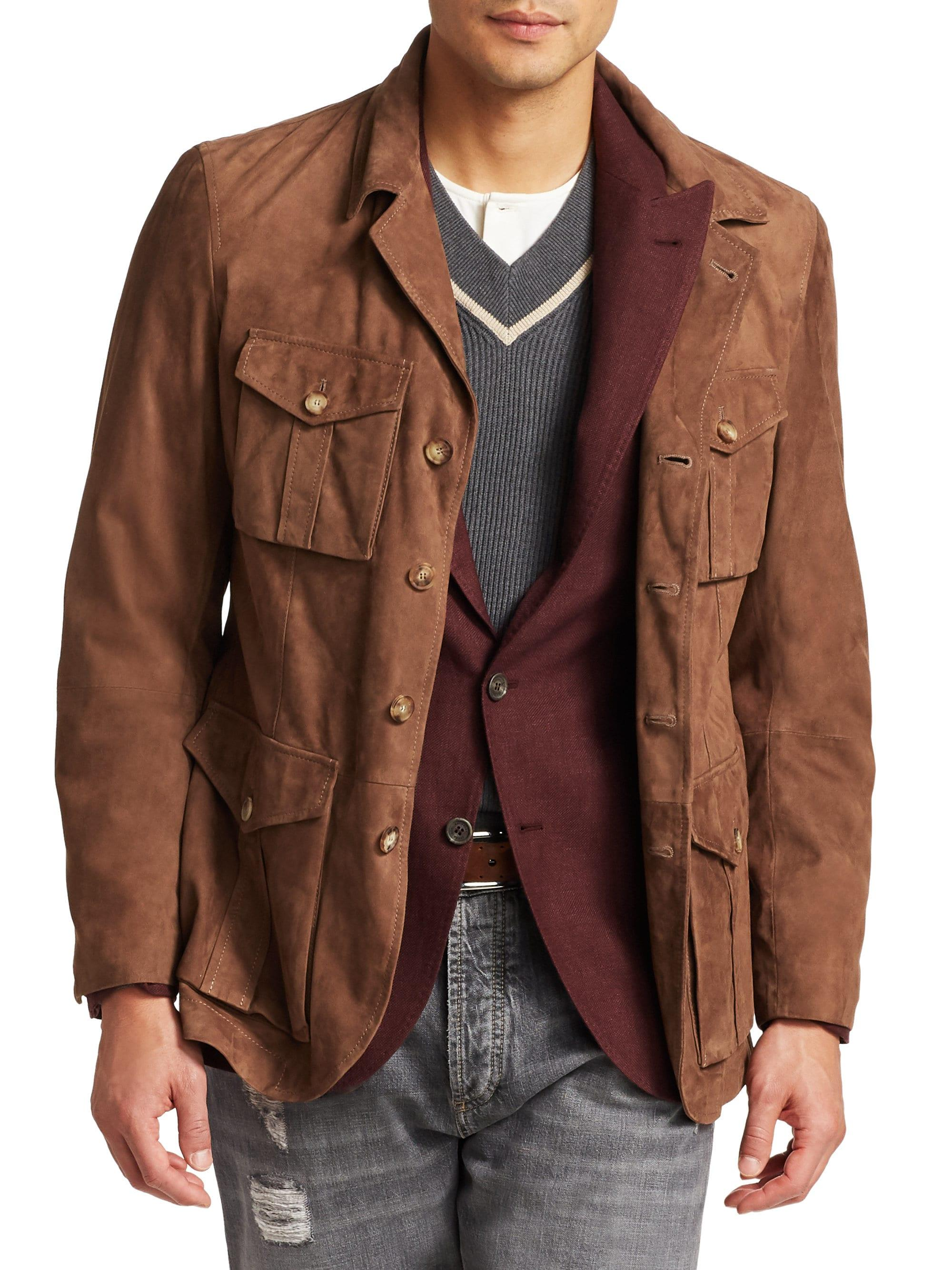 Lyst Brunello Cucinelli Men S Suede Safari Jacket Walnut In