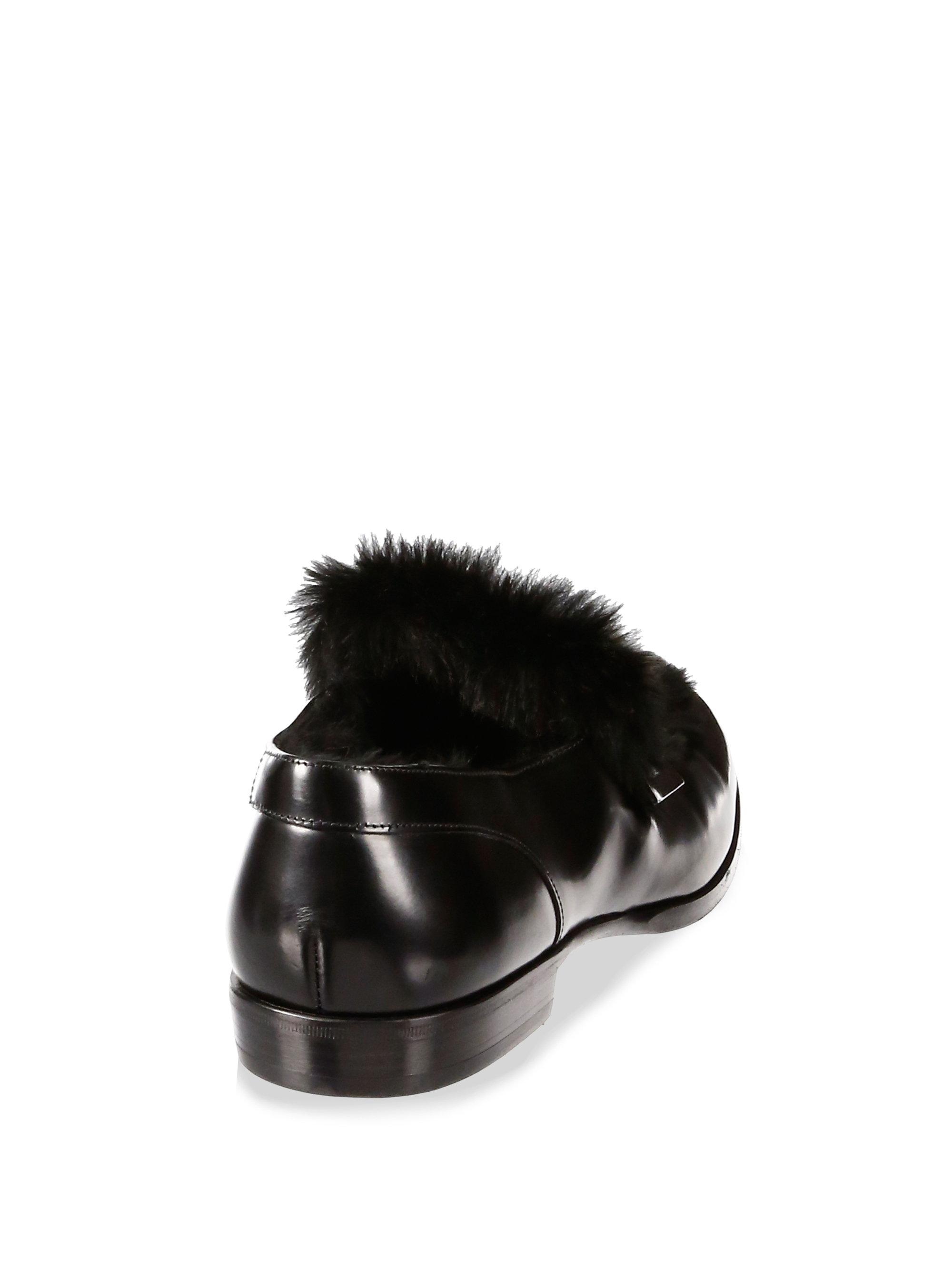 1a7b087bc88 Lyst - Jimmy Choo Tedi Rabbit Fur Leather Loafers in Black