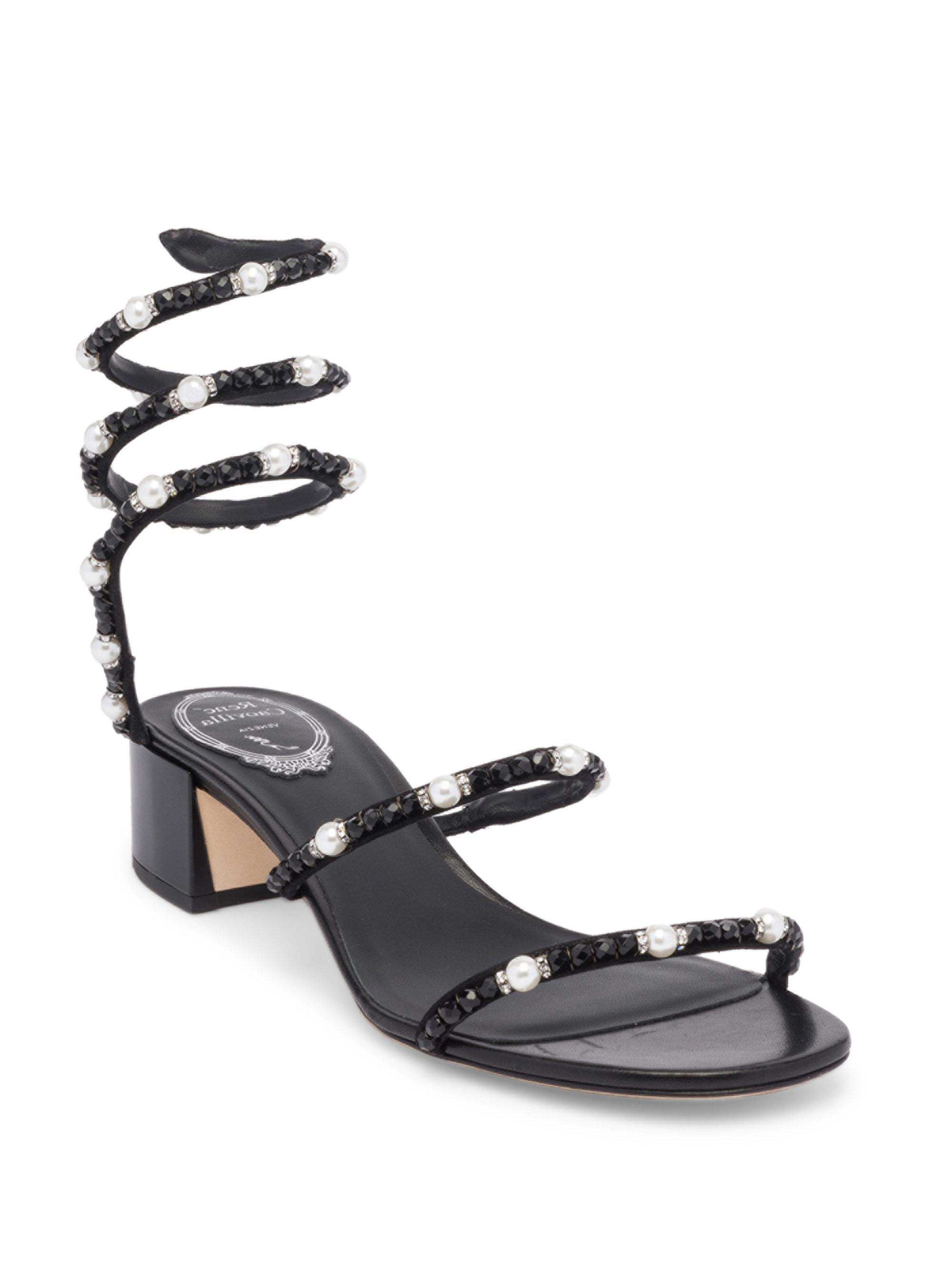Rene Caovilla. Women's Black Pearl And Crystal Ankle Wrap Sandals