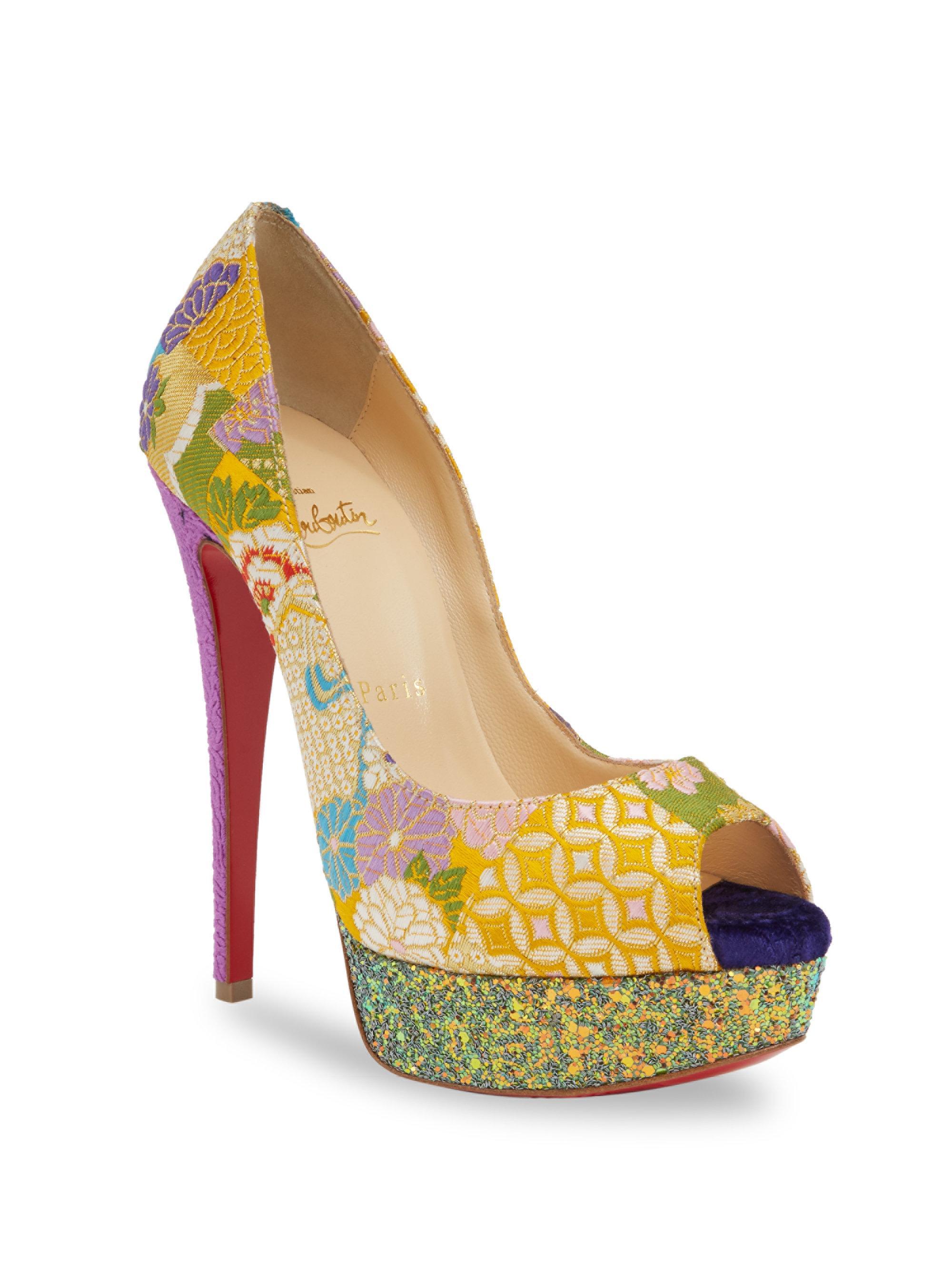 8965942f85b1 Lyst - Christian Louboutin Classique Lady Peep 150 Floral   Glitter ...