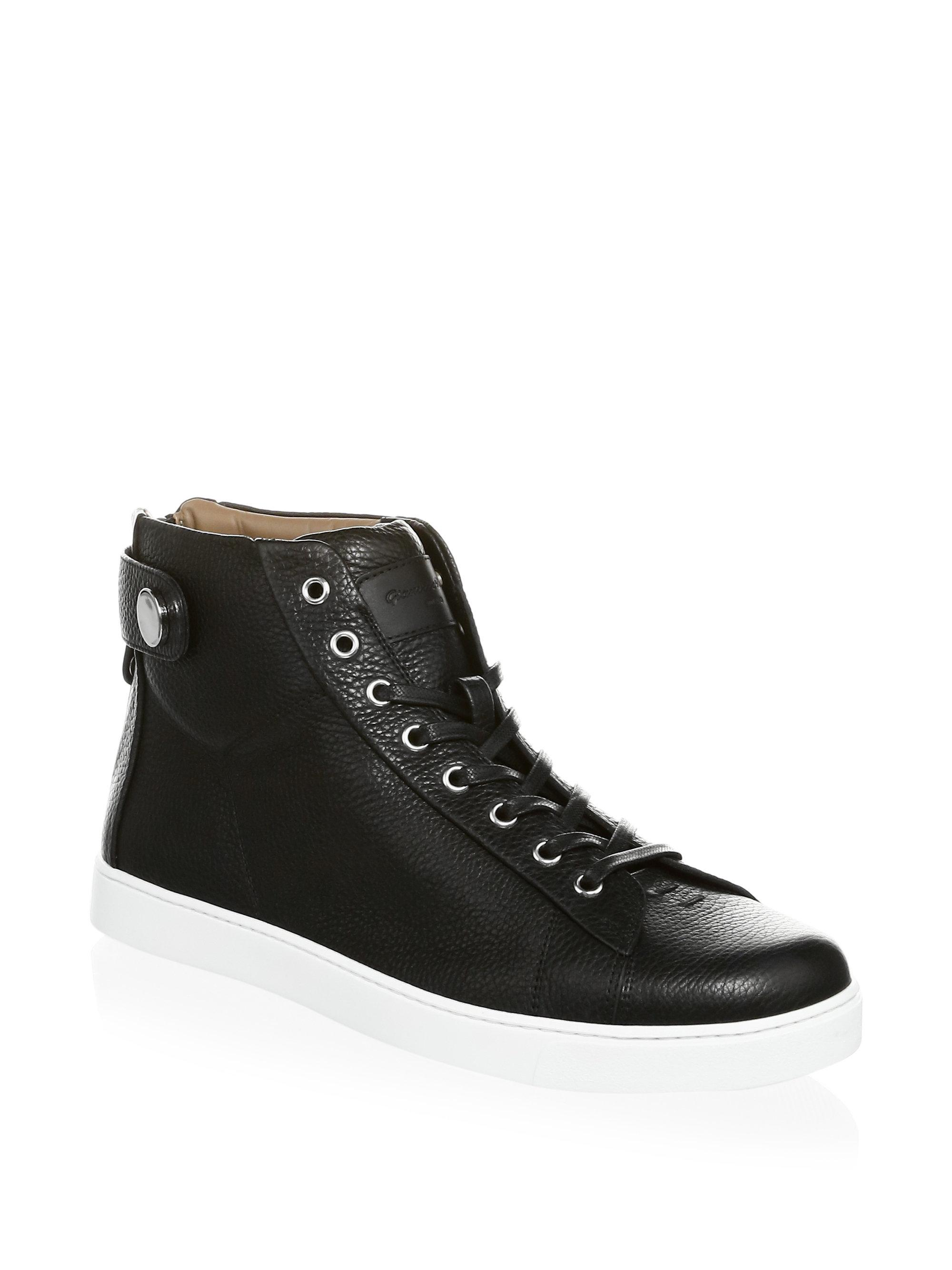 Gianvito Rossi Grain Leather Strap Mid Sneakers N4xc6