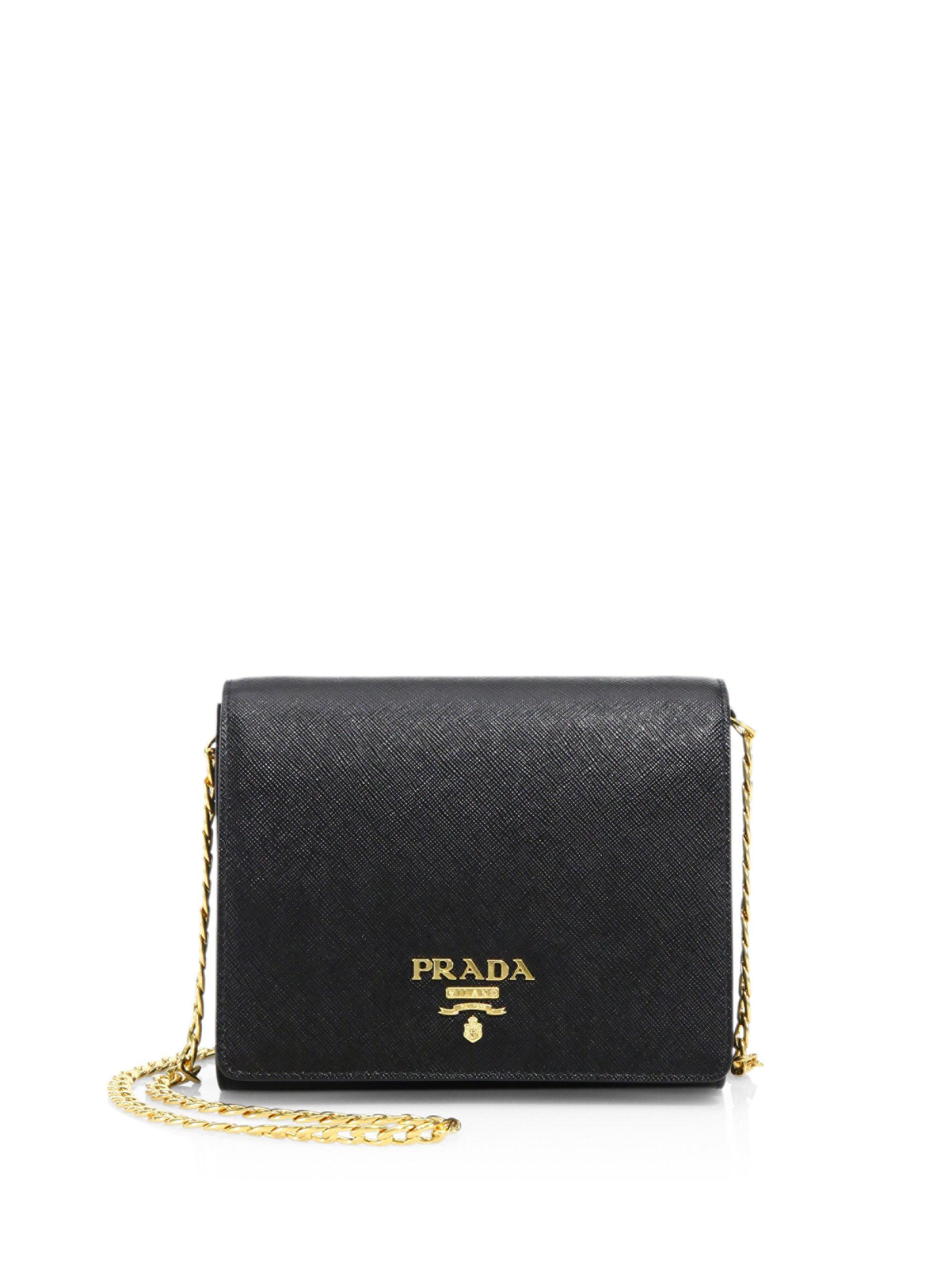 6bd3526fd0b7 Lyst - Prada Saffiano Lux Chain Wallet in Black
