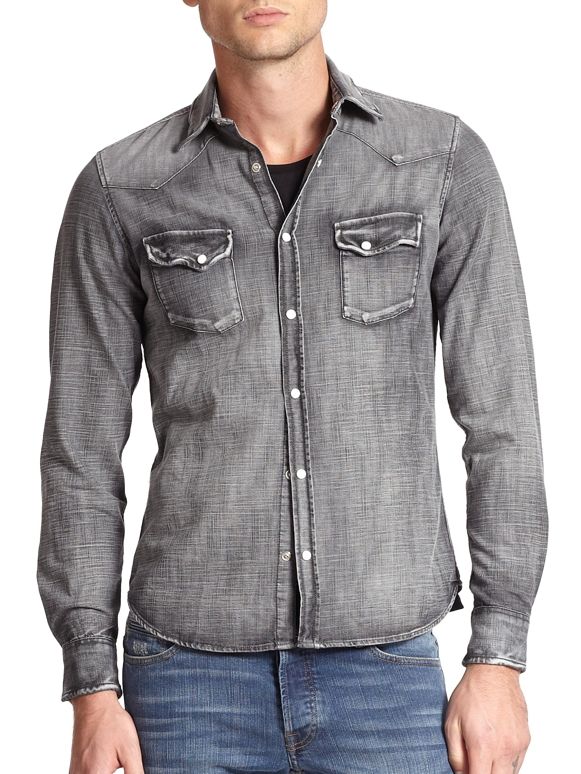 a7aa5776bfc The Kooples Dark Wash Denim Button-down Shirt in Gray for Men - Lyst