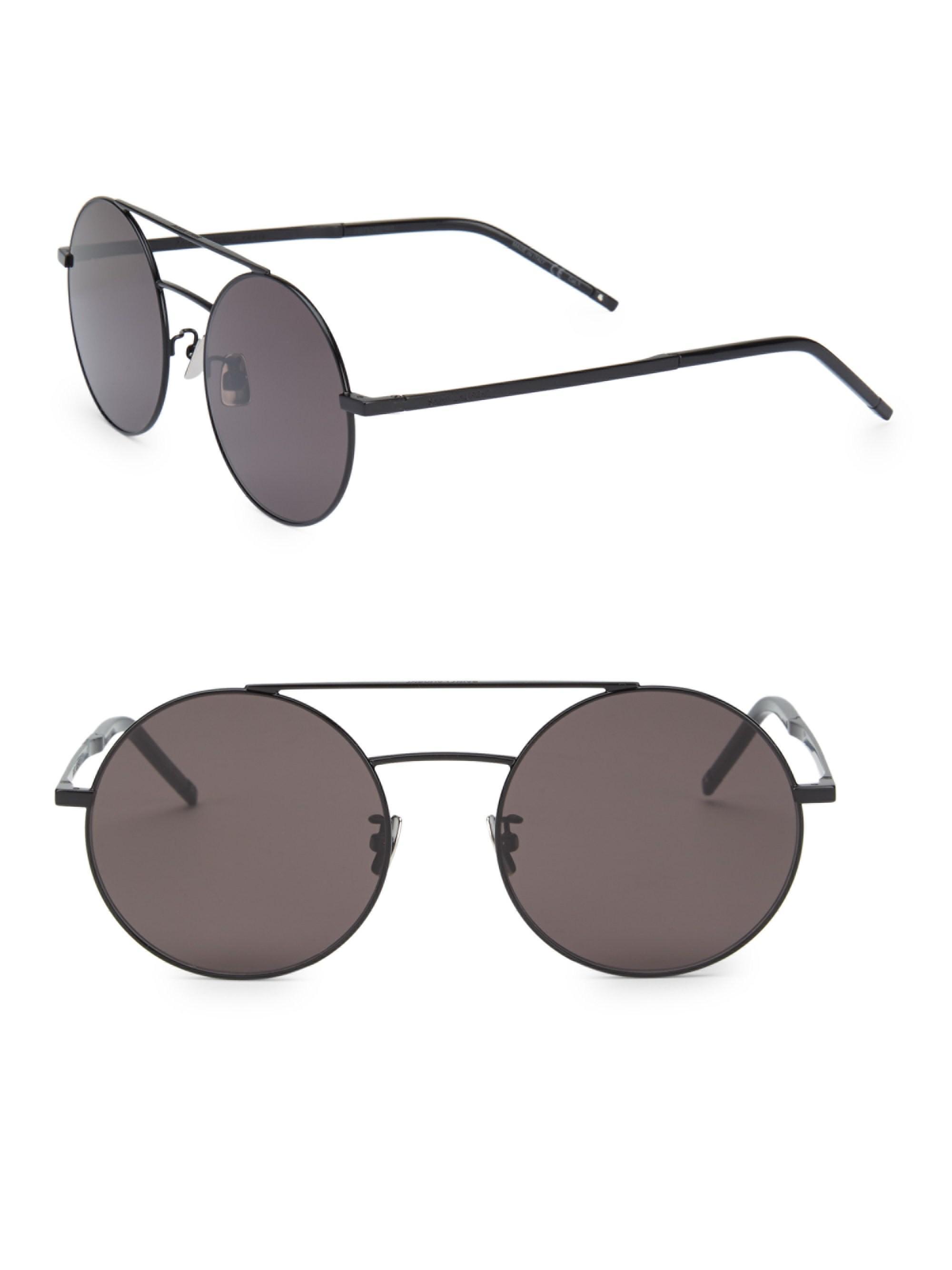 5c61d4bdf74c Lyst - Saint Laurent 56mm Aviator Sunglasses in Black for Men
