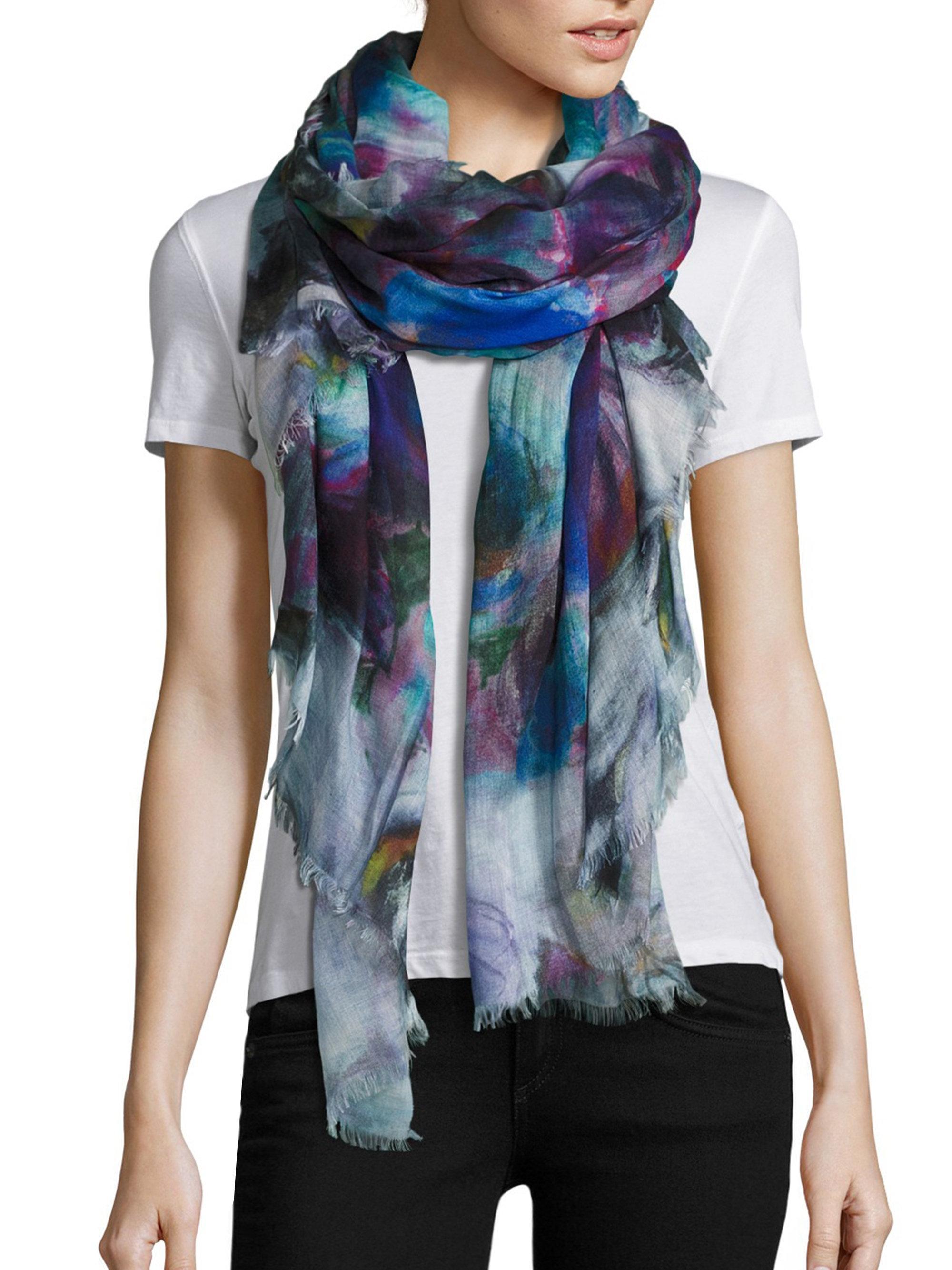 blue floral modal in ferrari scarf lyst accessories gallery franco silk