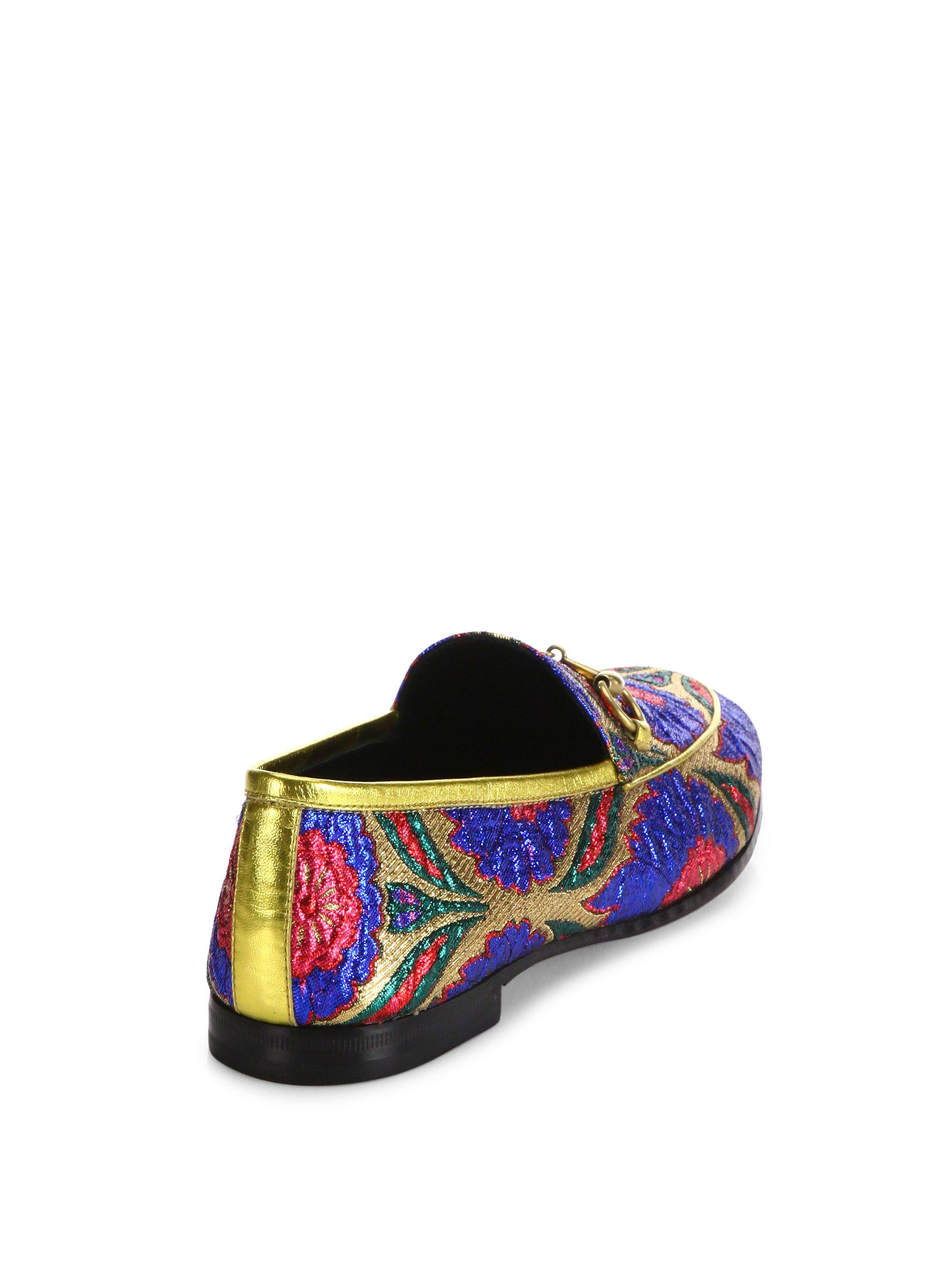 Gucci - Blue Jordaan Lurex Floral Brocade Loafers - Lyst. View Fullscreen